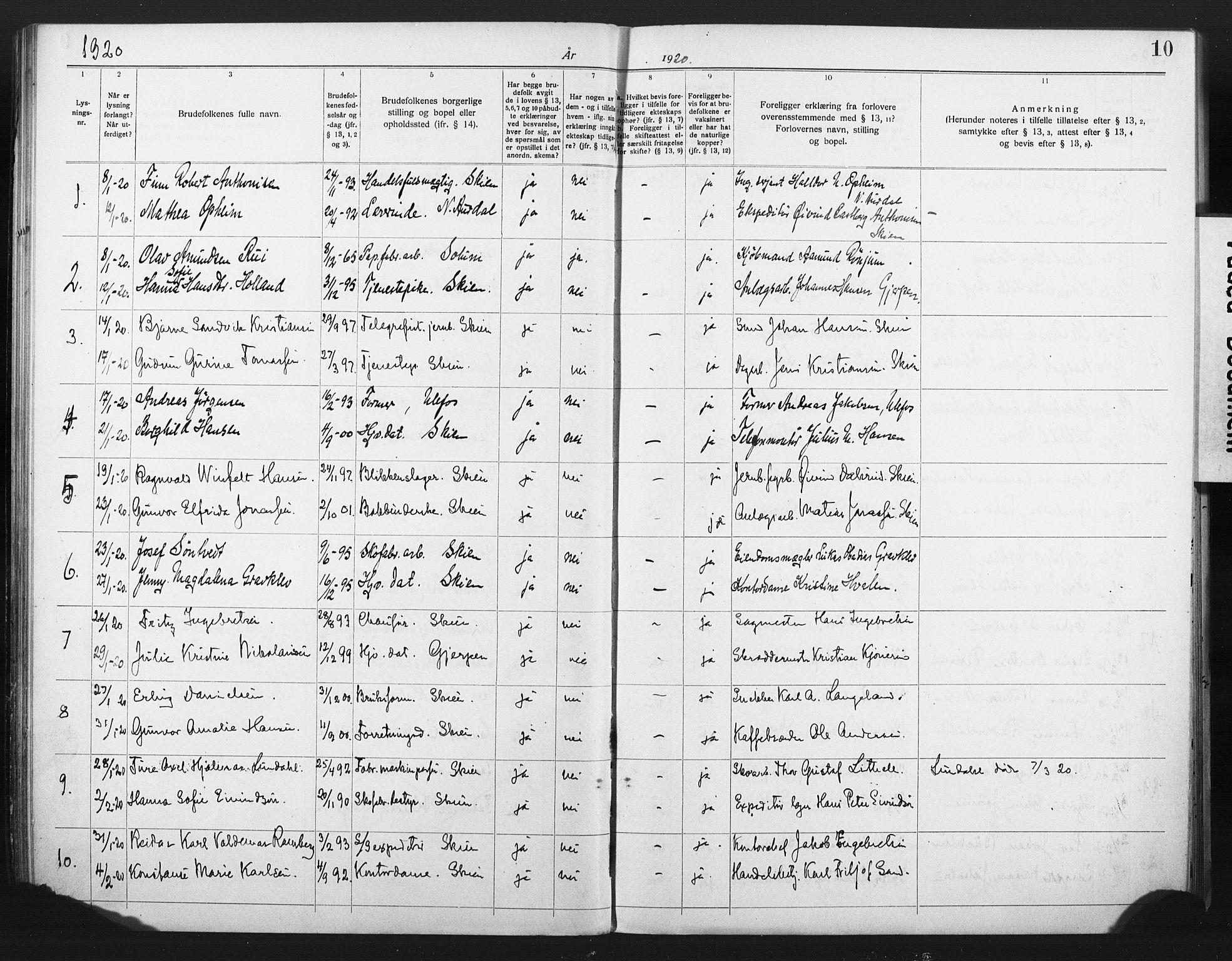 SAKO, Skien kirkebøker, H/Ha/L0001: Lysningsprotokoll nr. 1, 1919-1929, s. 10