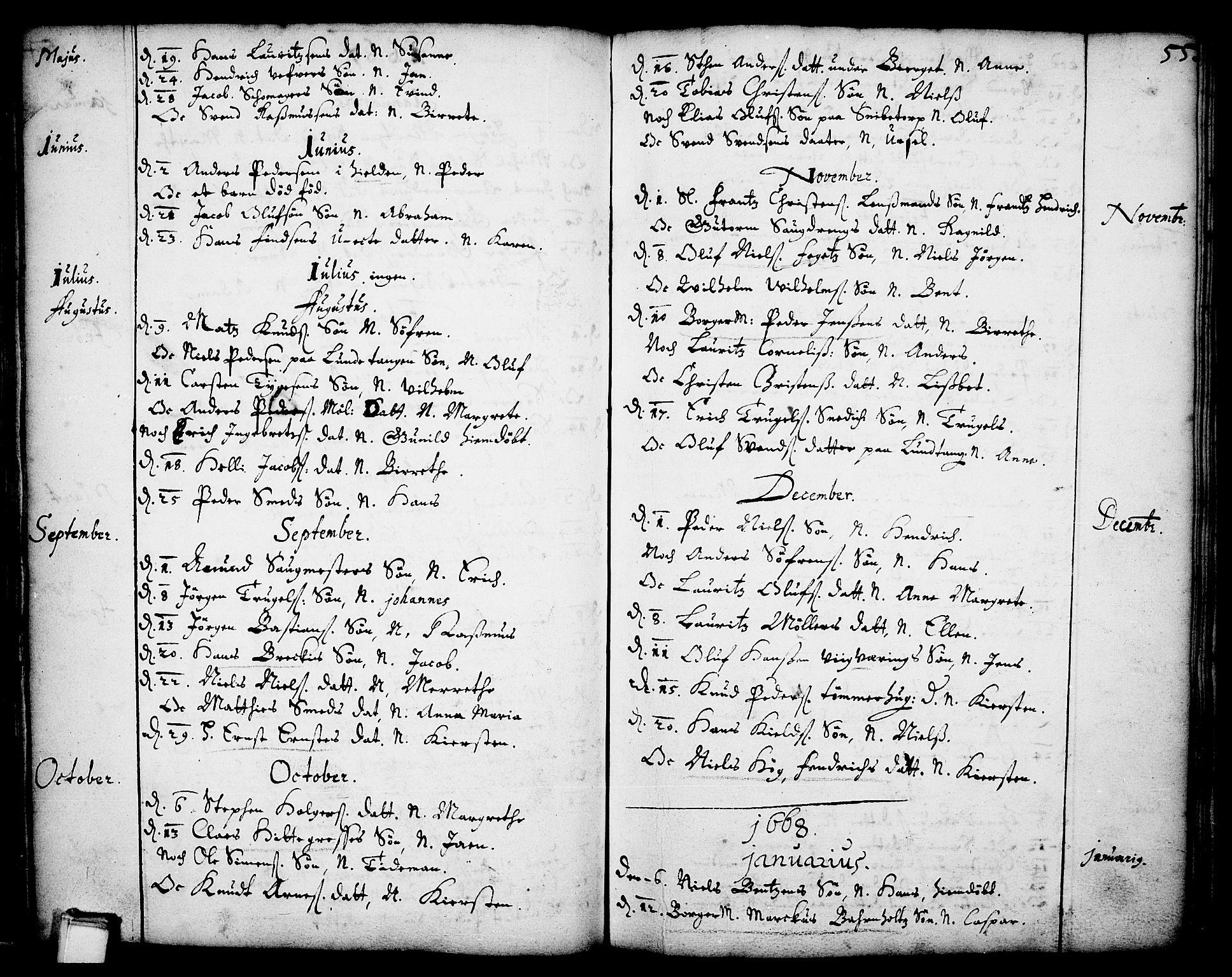 SAKO, Skien kirkebøker, F/Fa/L0001: Ministerialbok nr. 1, 1659-1679, s. 55