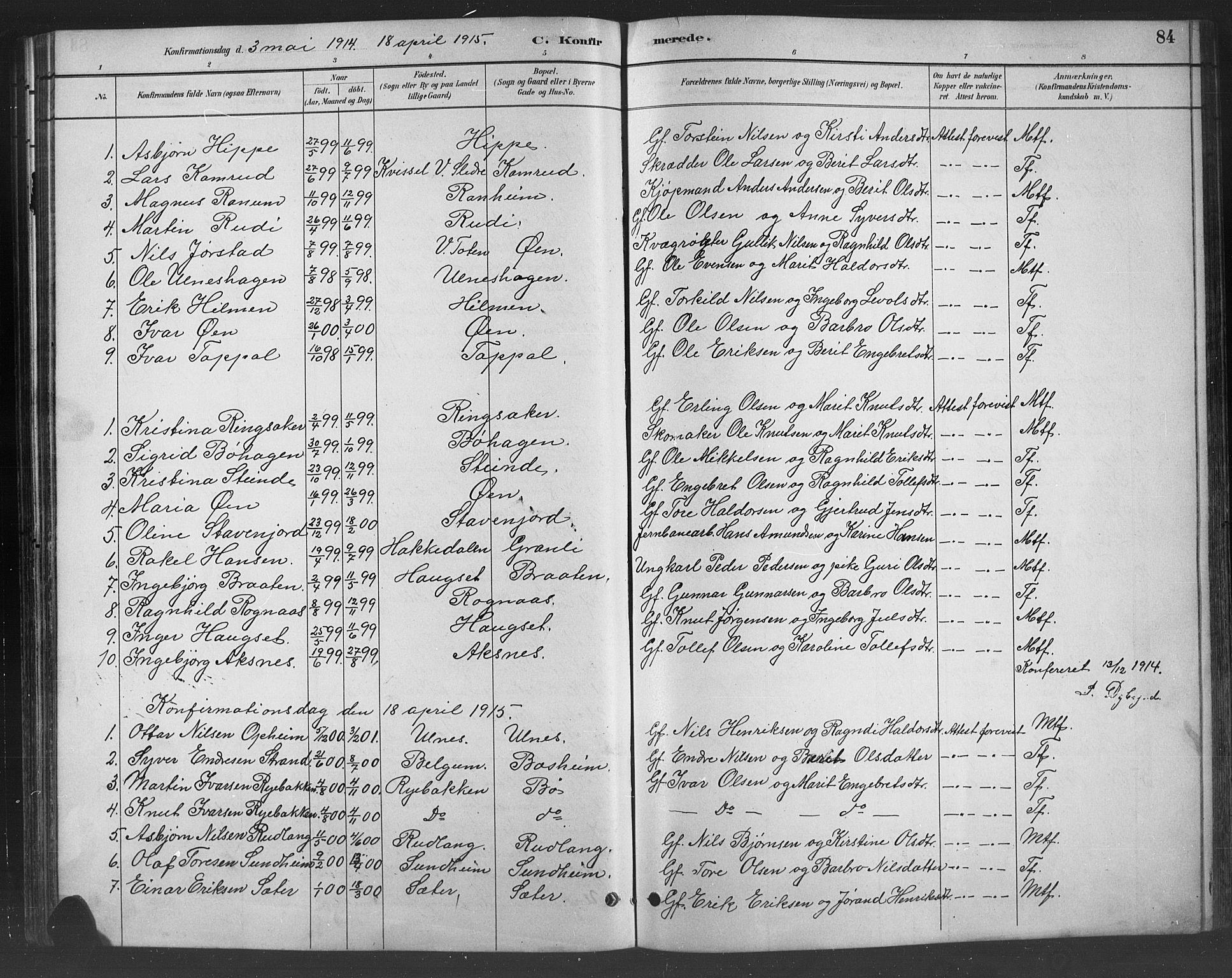 SAH, Nord-Aurdal prestekontor, Klokkerbok nr. 8, 1883-1916, s. 84