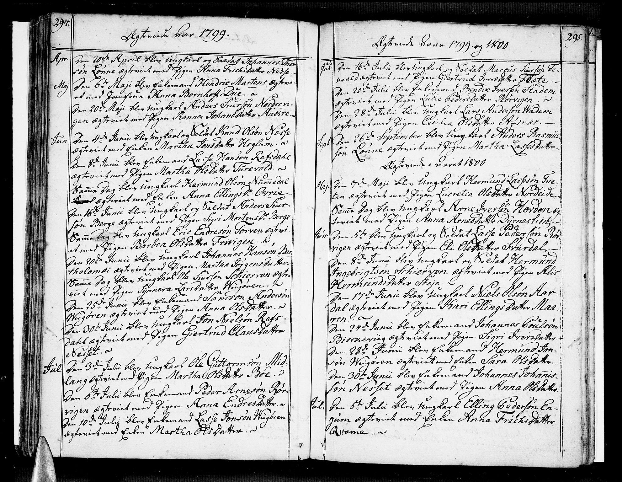 SAB, Vik Sokneprestembete, Ministerialbok nr. A 5, 1787-1820, s. 294-295