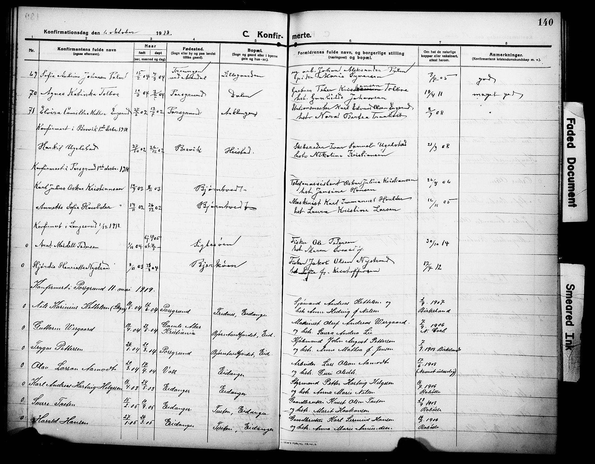 SAKO, Eidanger kirkebøker, G/Ga/L0004: Klokkerbok nr. 4, 1912-1927, s. 140