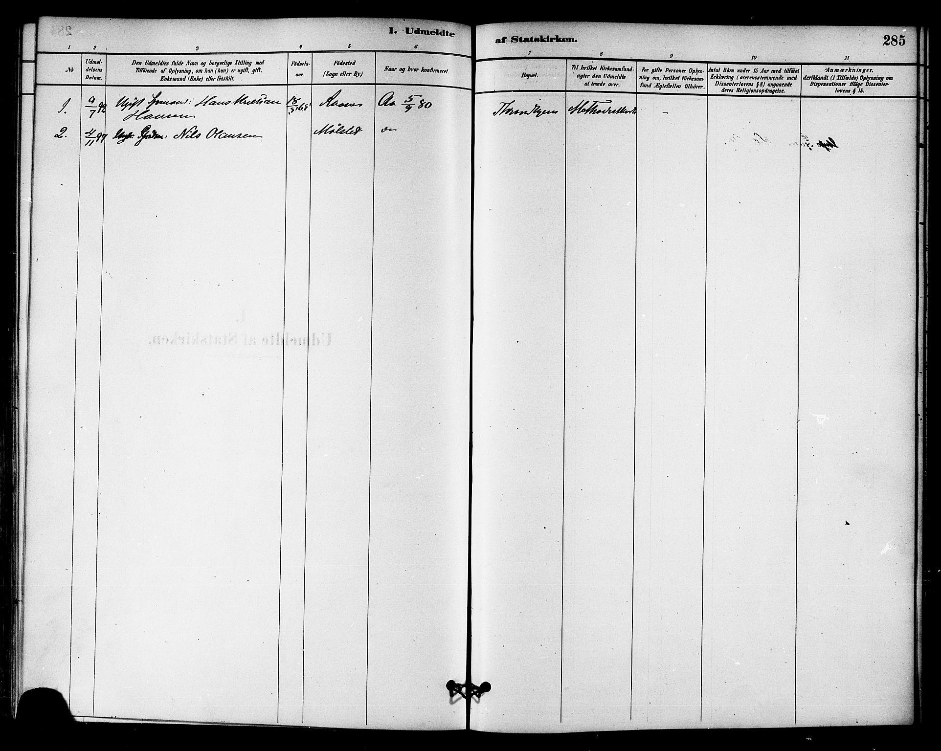 SAT, Ministerialprotokoller, klokkerbøker og fødselsregistre - Sør-Trøndelag, 655/L0680: Ministerialbok nr. 655A09, 1880-1894, s. 285
