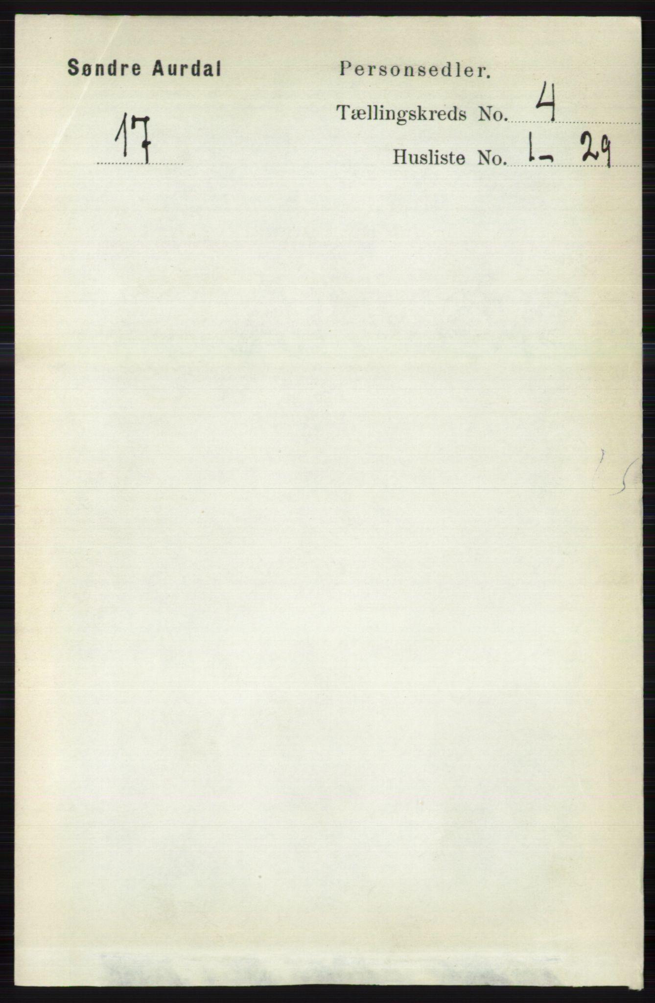 RA, Folketelling 1891 for 0540 Sør-Aurdal herred, 1891, s. 2398