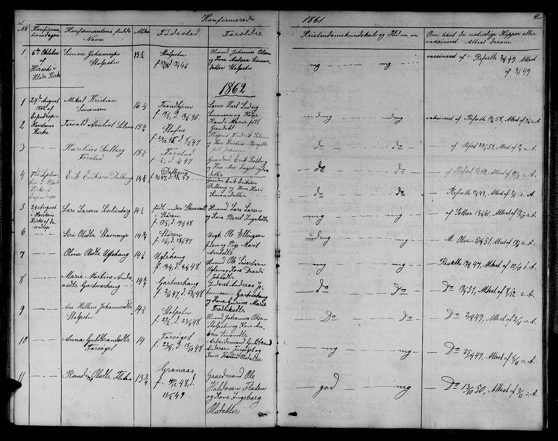 SAT, Ministerialprotokoller, klokkerbøker og fødselsregistre - Sør-Trøndelag, 611/L0353: Klokkerbok nr. 611C01, 1854-1881, s. 61
