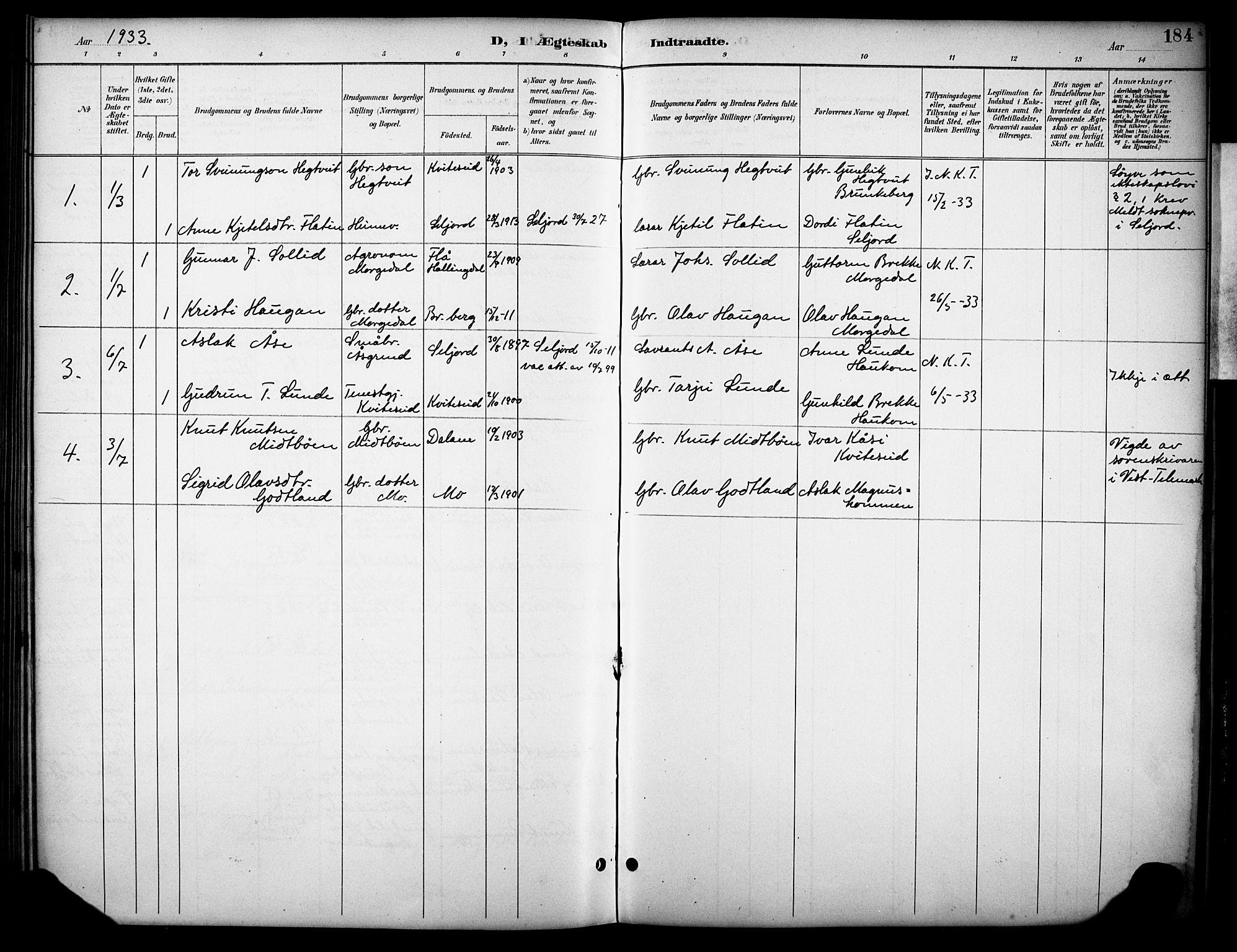 SAKO, Kviteseid kirkebøker, G/Gb/L0003: Klokkerbok nr. II 3, 1893-1933, s. 184