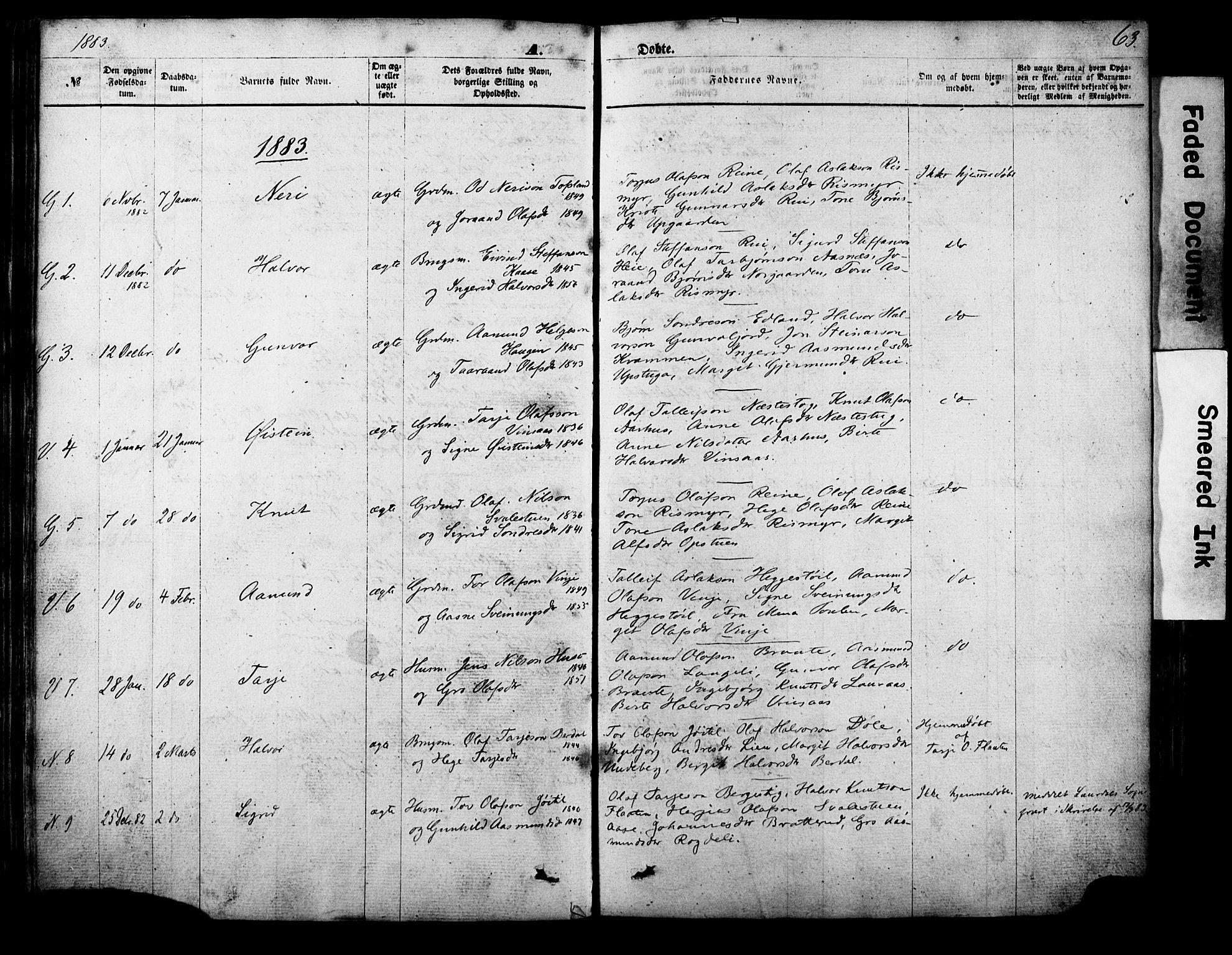 SAKO, Vinje kirkebøker, F/Fa/L0005: Ministerialbok nr. I 5, 1870-1886, s. 63