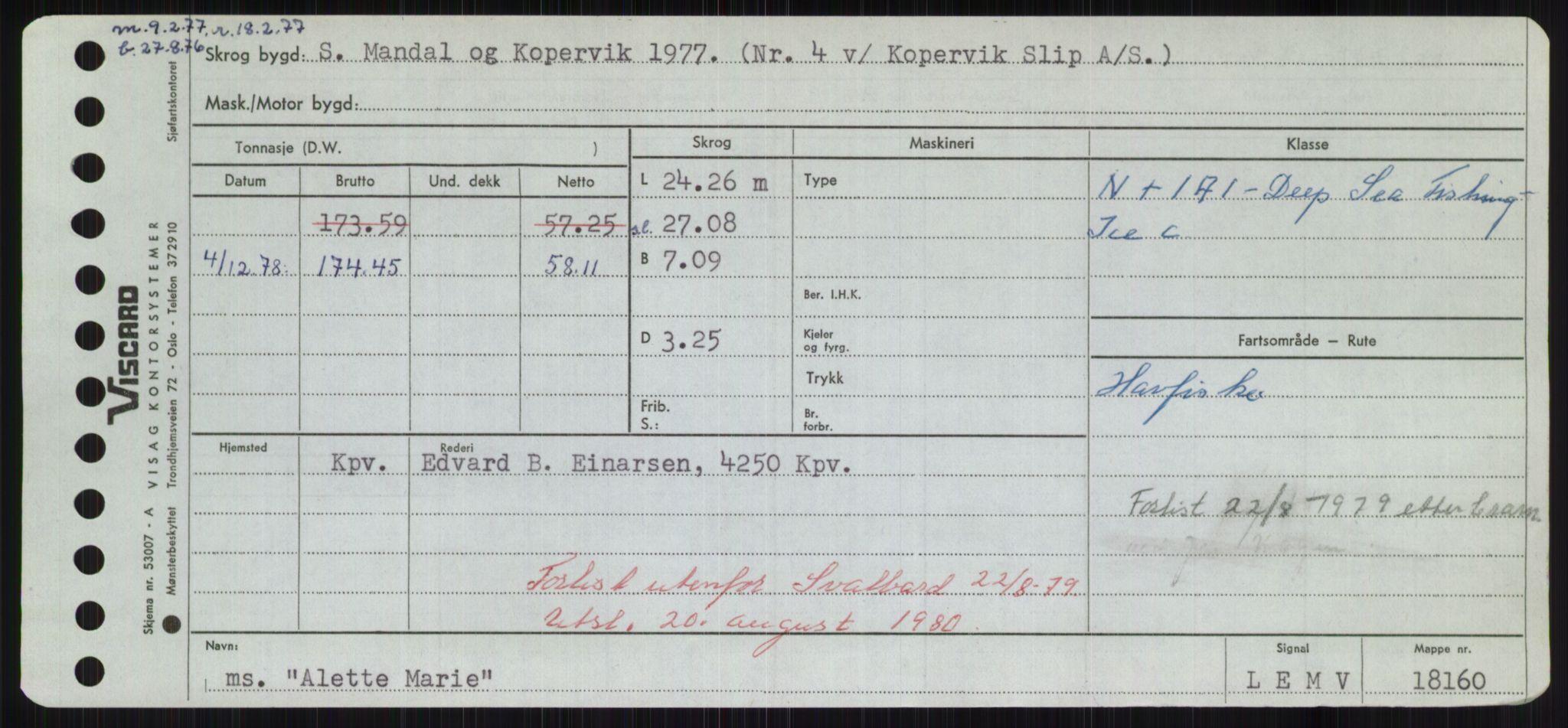 RA, Sjøfartsdirektoratet med forløpere, Skipsmålingen, H/Hd/L0001: Fartøy, A-Anv, s. 285