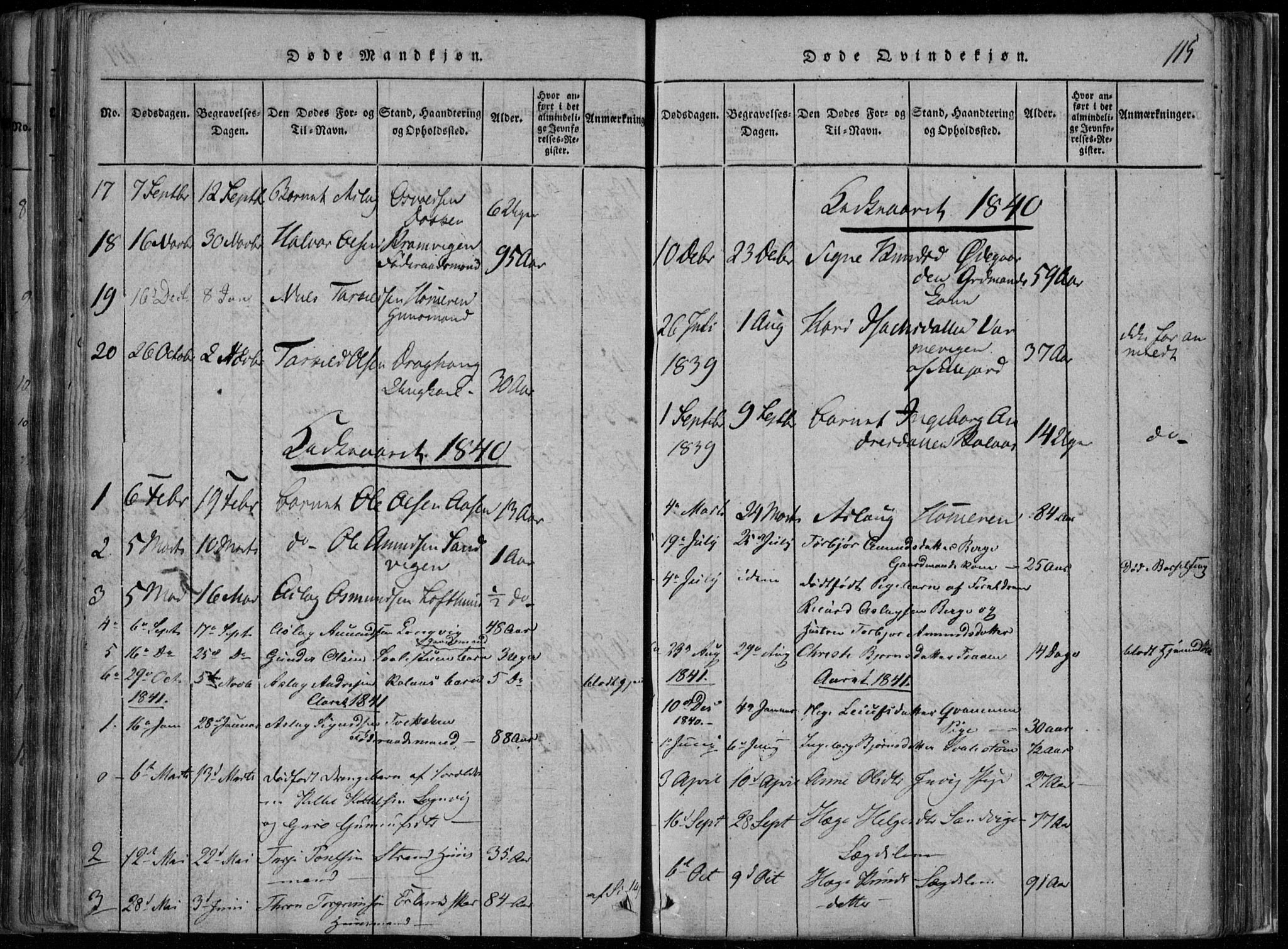 SAKO, Rauland kirkebøker, F/Fa/L0001: Ministerialbok nr. 1, 1814-1859, s. 115