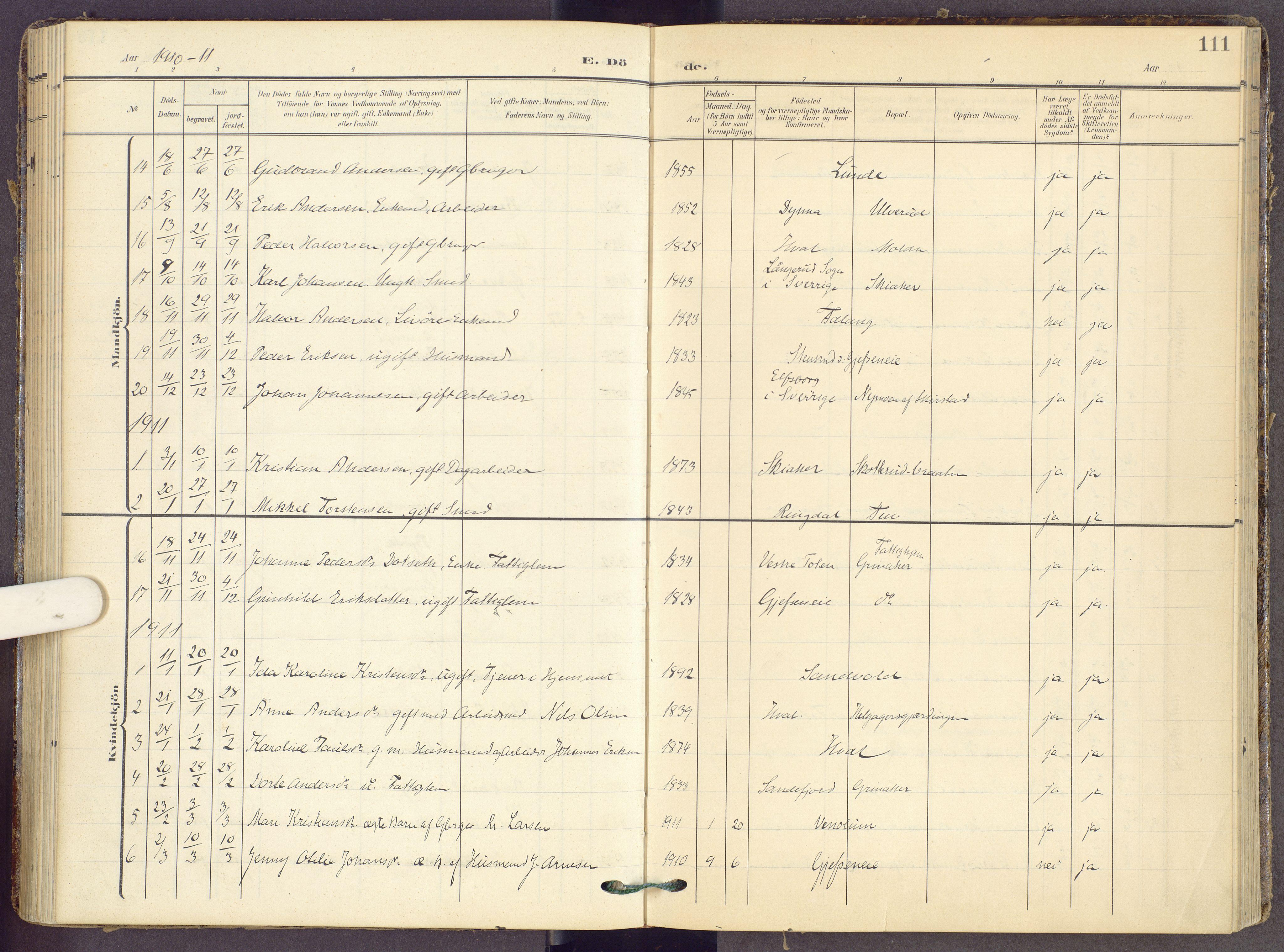 SAH, Gran prestekontor, Ministerialbok nr. 22, 1908-1918, s. 111
