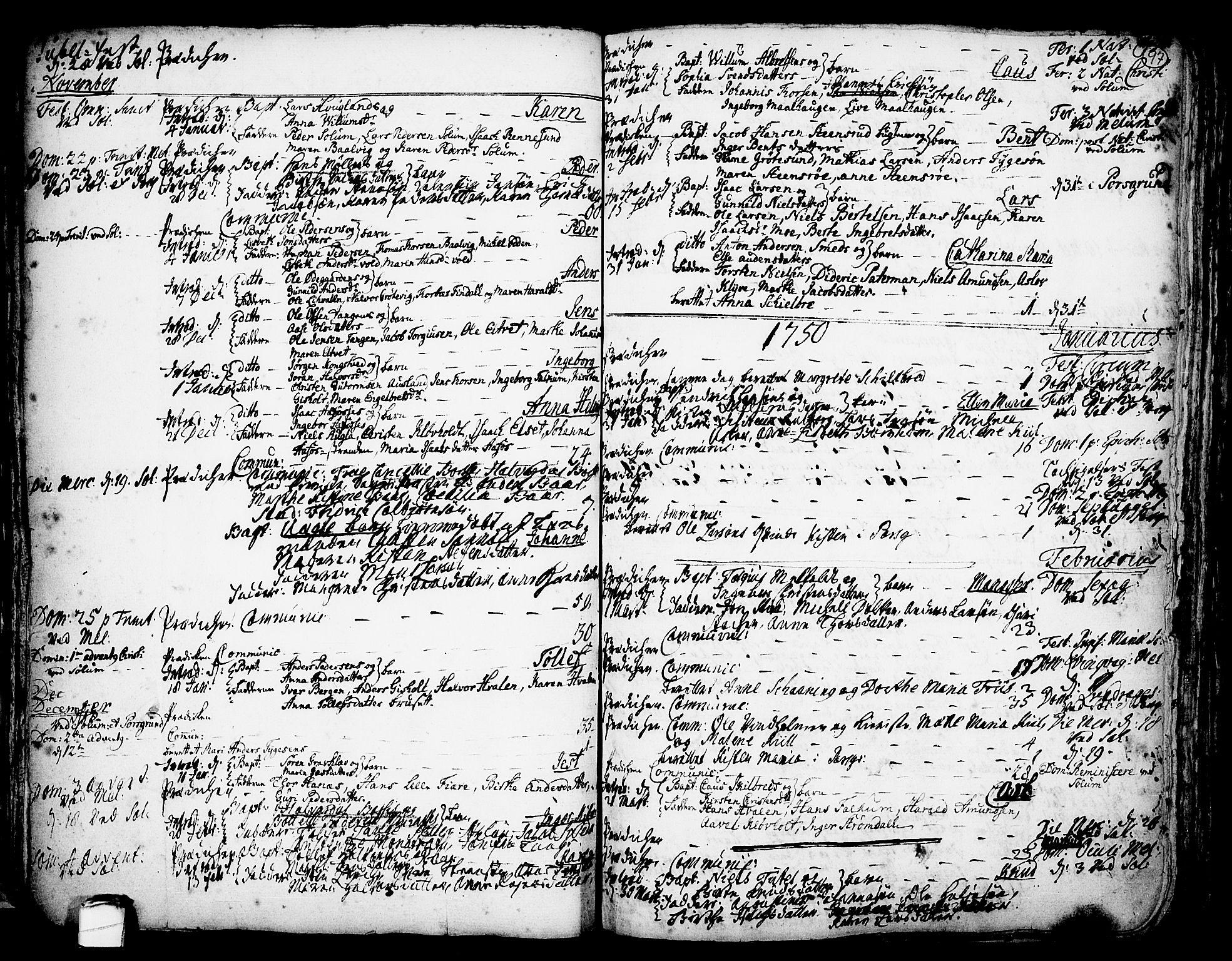 SAKO, Solum kirkebøker, F/Fa/L0002: Ministerialbok nr. I 2, 1713-1761, s. 97