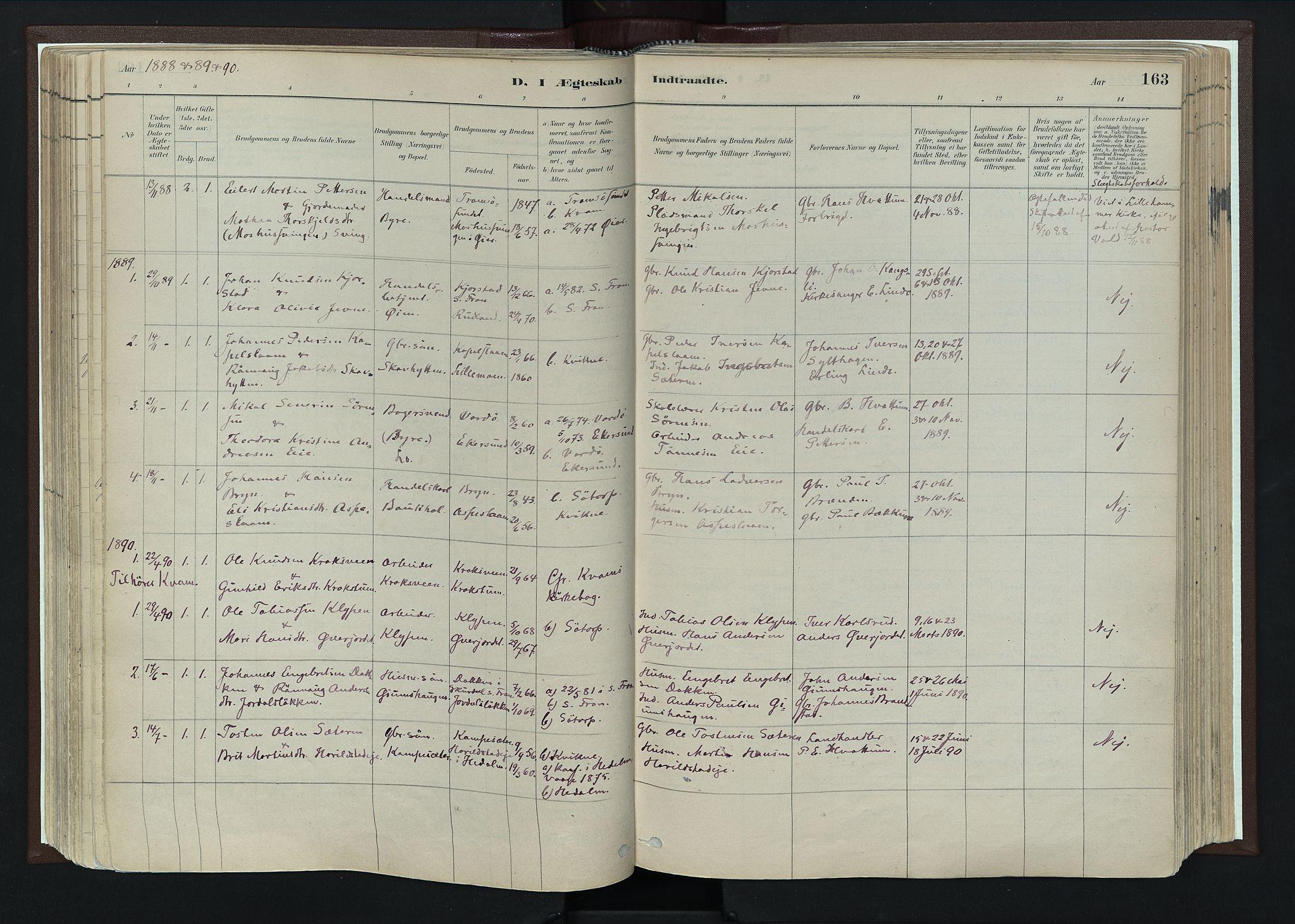SAH, Nord-Fron prestekontor, Ministerialbok nr. 4, 1884-1914, s. 163
