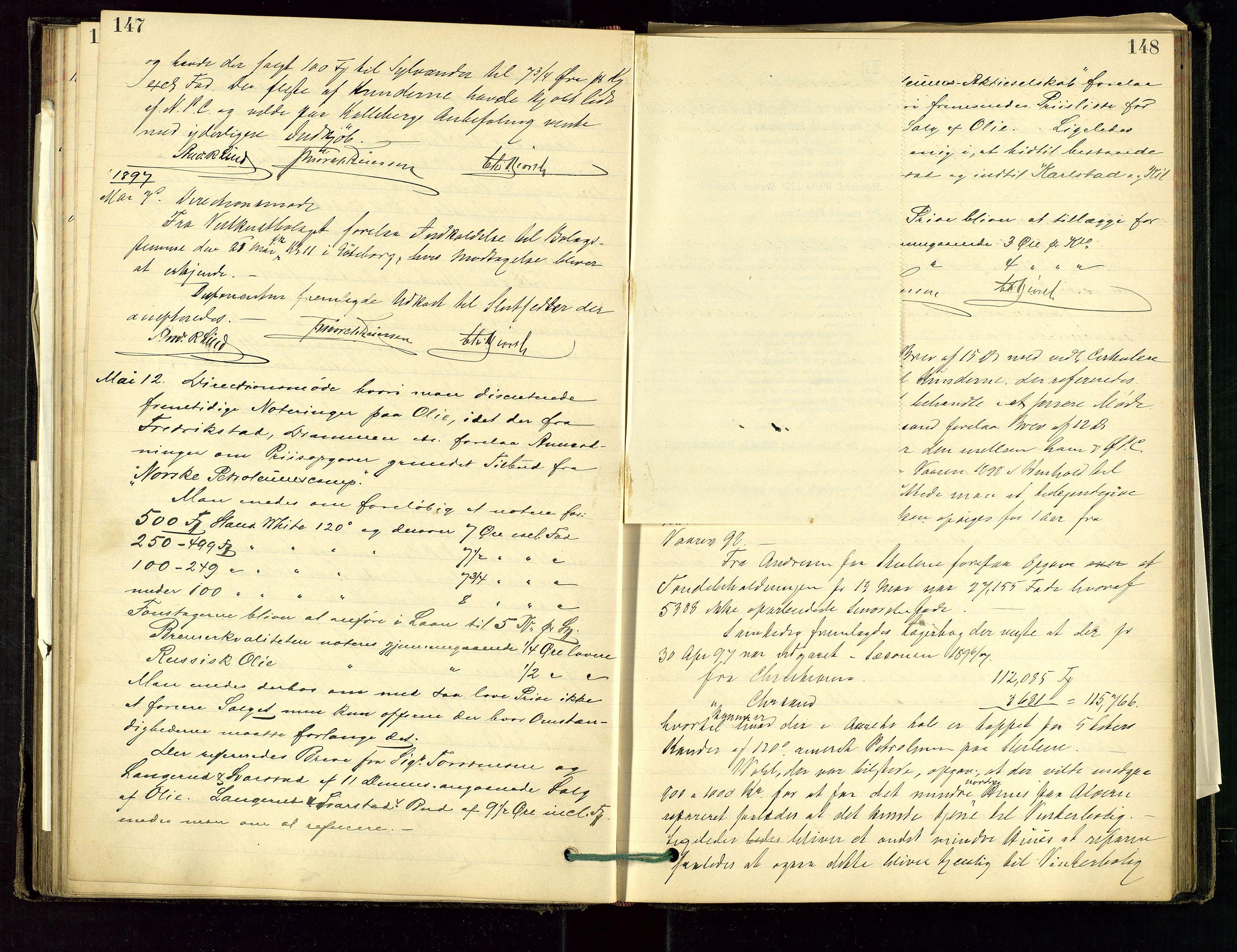 SAST, PA 1534 - Østlandske Petroleumscompagni A/S, A/Aa/L0001: Generalforsamlinger og direksjonsprotokoller., 1892-1905, s. 147-148