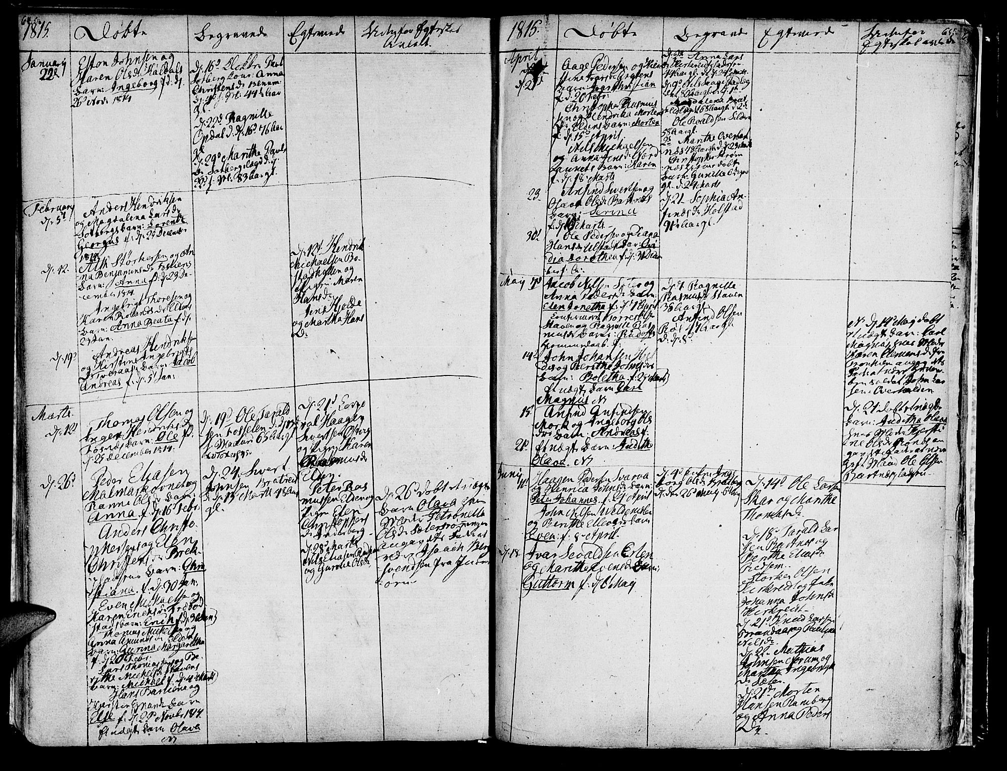 SAT, Ministerialprotokoller, klokkerbøker og fødselsregistre - Nord-Trøndelag, 741/L0386: Ministerialbok nr. 741A02, 1804-1816, s. 64-65