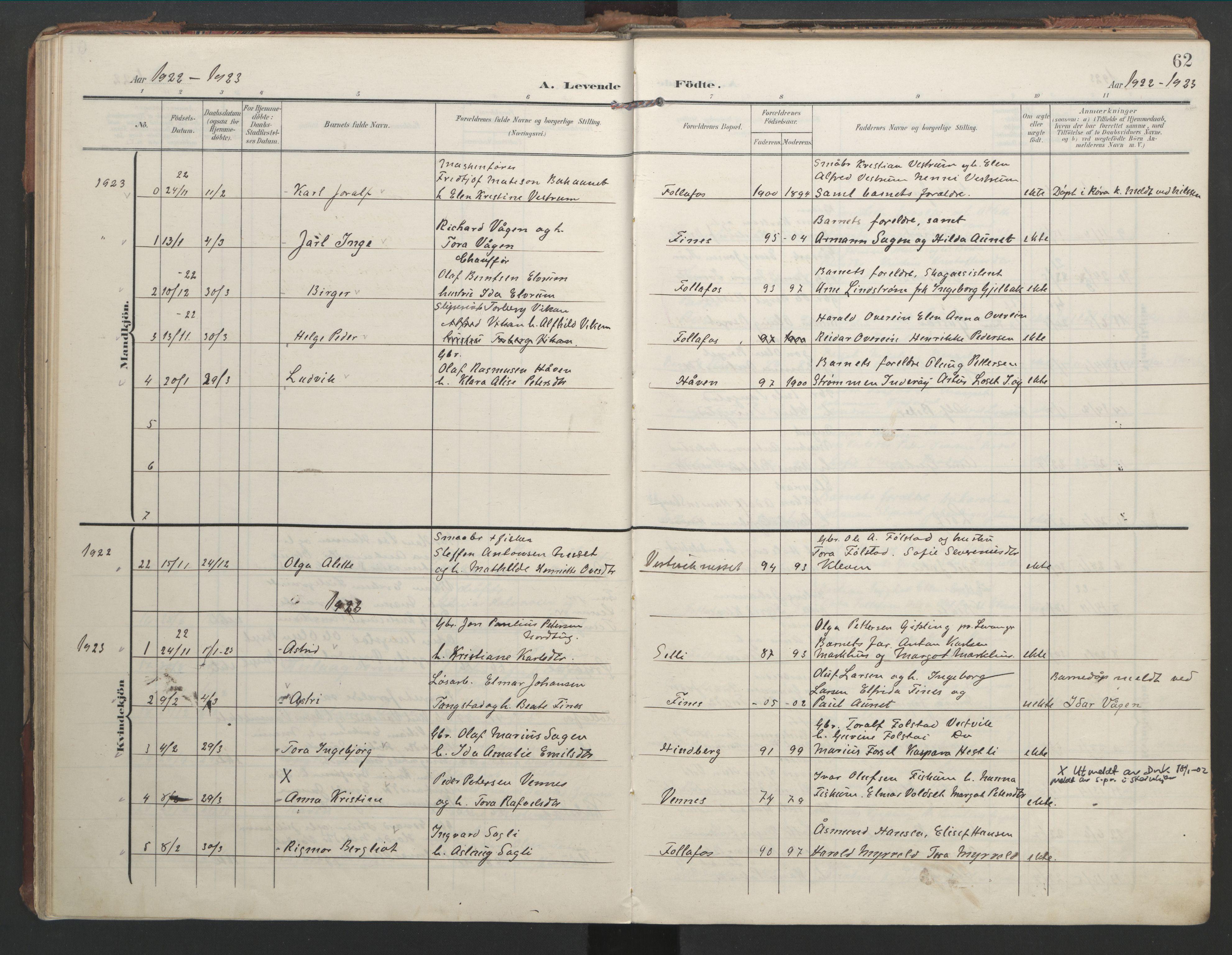 SAT, Ministerialprotokoller, klokkerbøker og fødselsregistre - Nord-Trøndelag, 744/L0421: Ministerialbok nr. 744A05, 1905-1930, s. 62