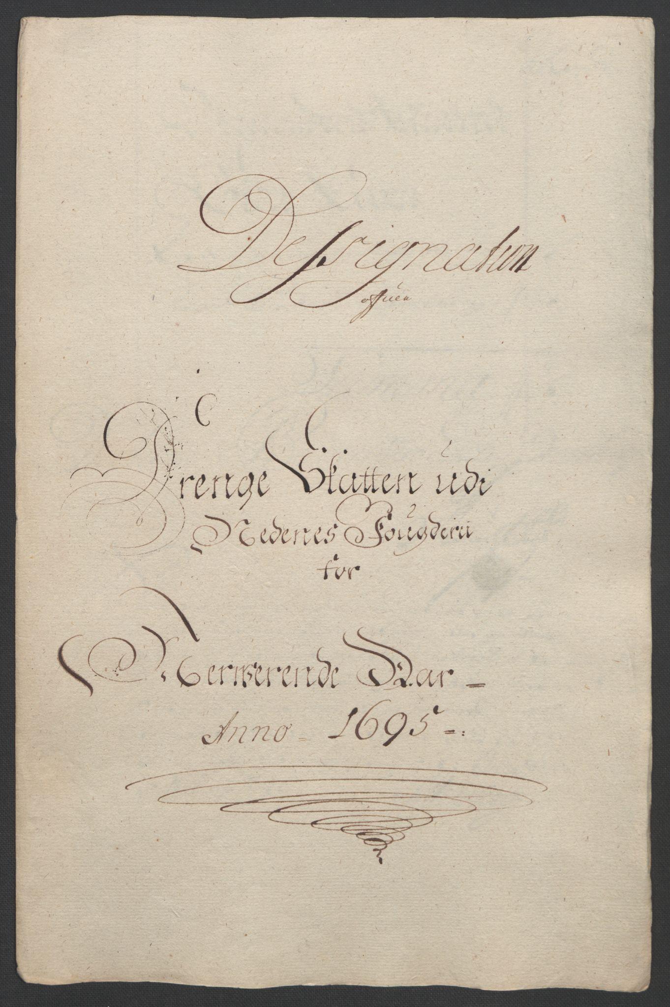 RA, Rentekammeret inntil 1814, Reviderte regnskaper, Fogderegnskap, R39/L2312: Fogderegnskap Nedenes, 1693-1695, s. 265