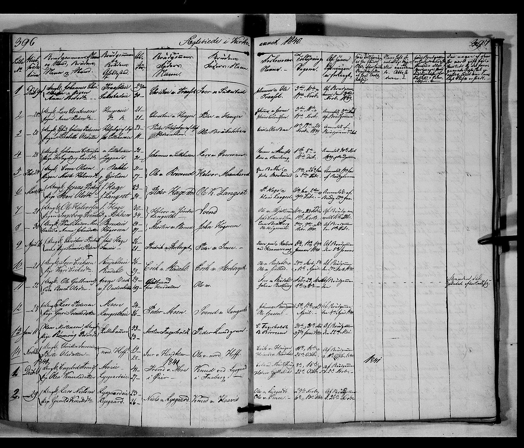 SAH, Fåberg prestekontor, Klokkerbok nr. 6, 1837-1855, s. 396-397