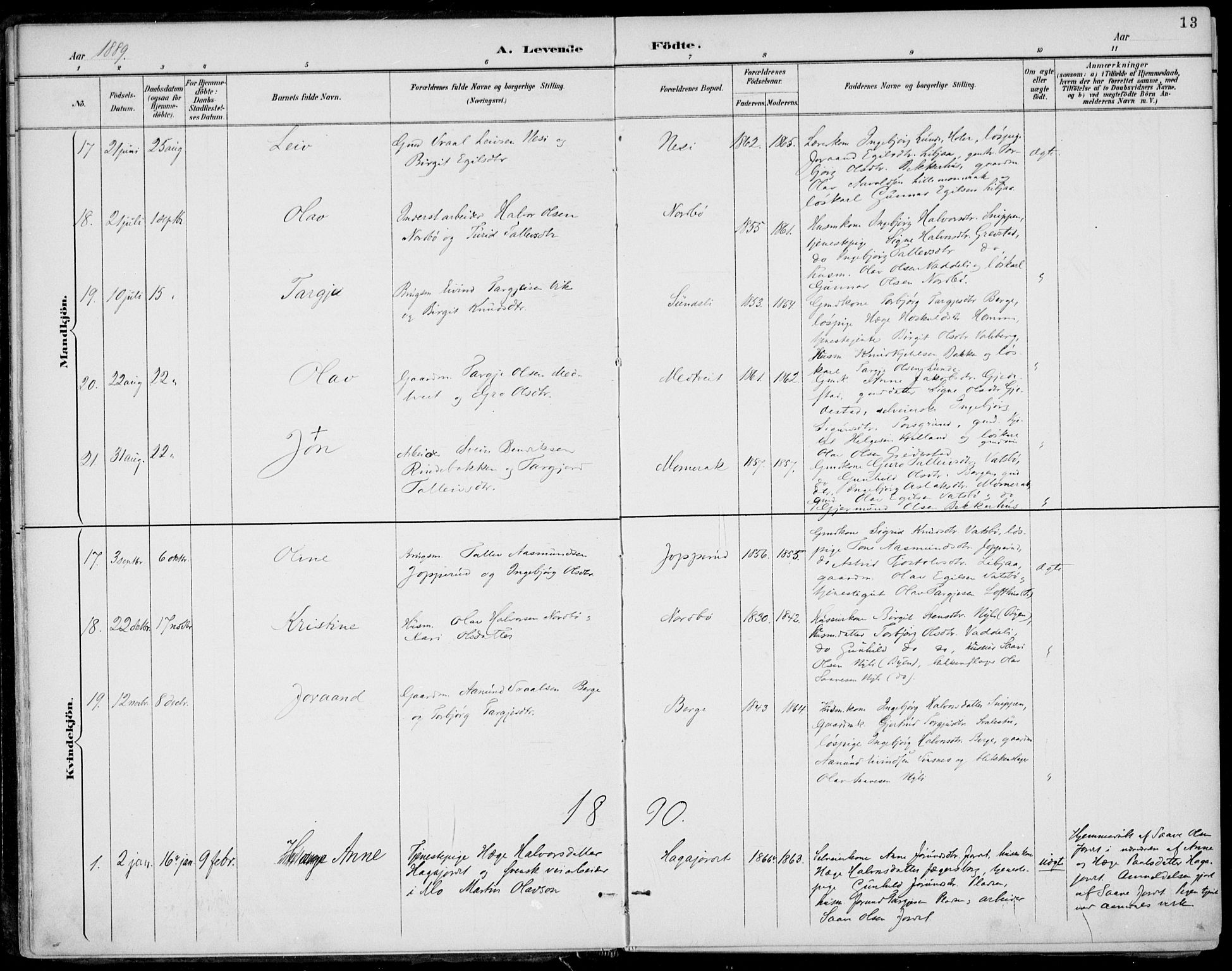 SAKO, Fyresdal kirkebøker, F/Fa/L0007: Ministerialbok nr. I 7, 1887-1914, s. 13
