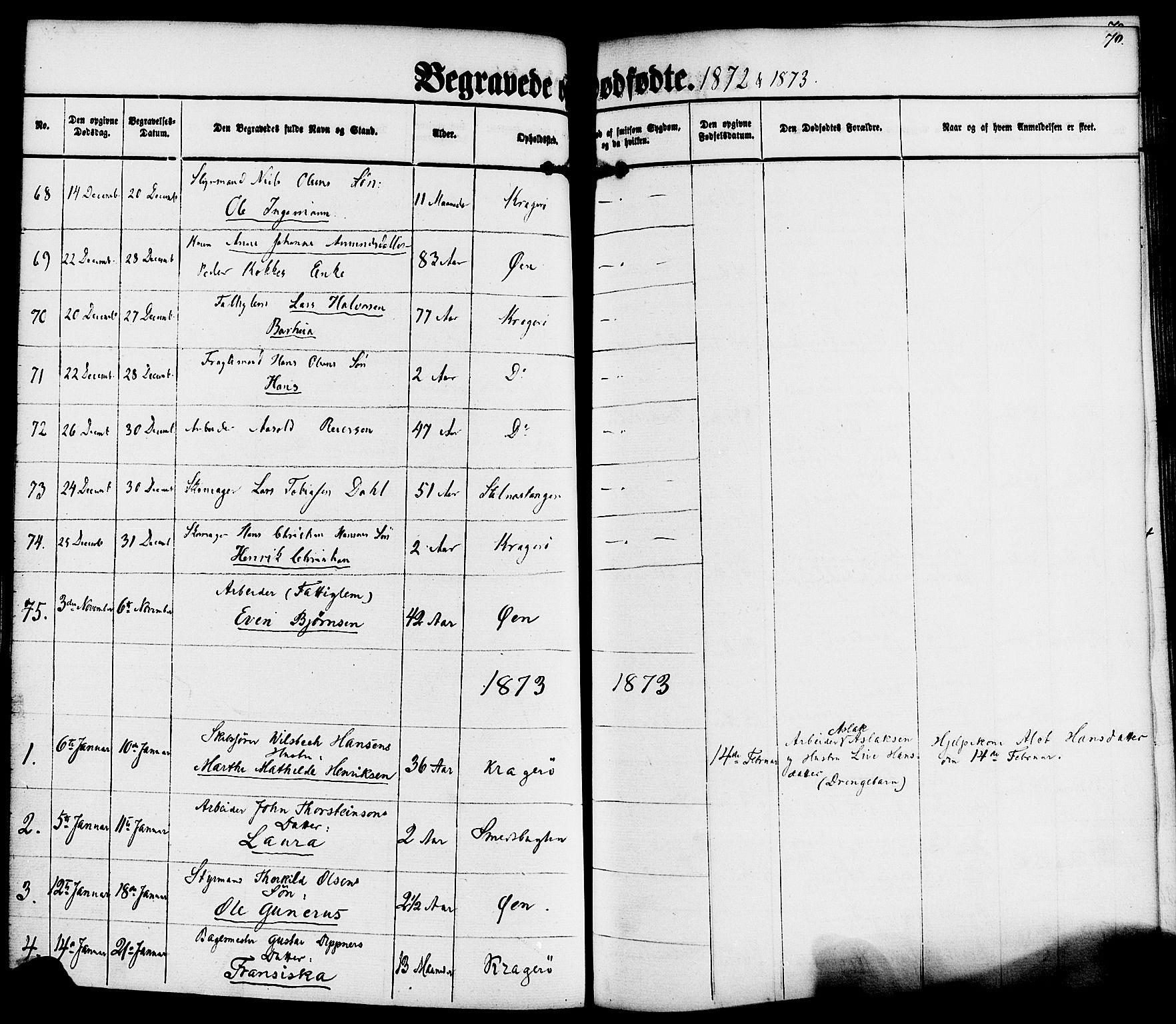 SAKO, Kragerø kirkebøker, F/Fa/L0010: Ministerialbok nr. 10, 1861-1885, s. 70