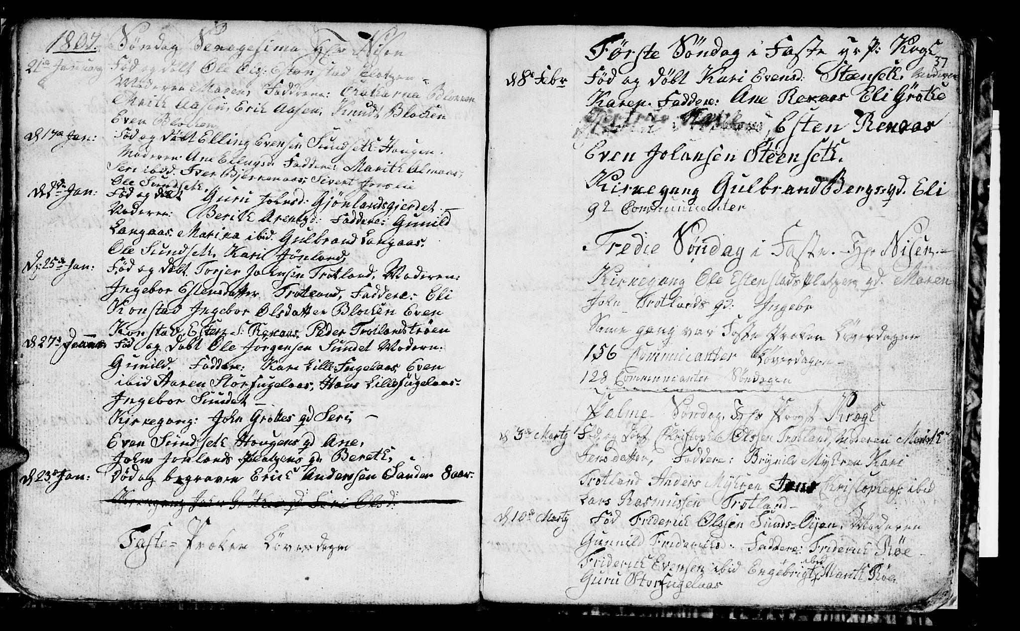 SAT, Ministerialprotokoller, klokkerbøker og fødselsregistre - Sør-Trøndelag, 694/L1129: Klokkerbok nr. 694C01, 1793-1815, s. 37