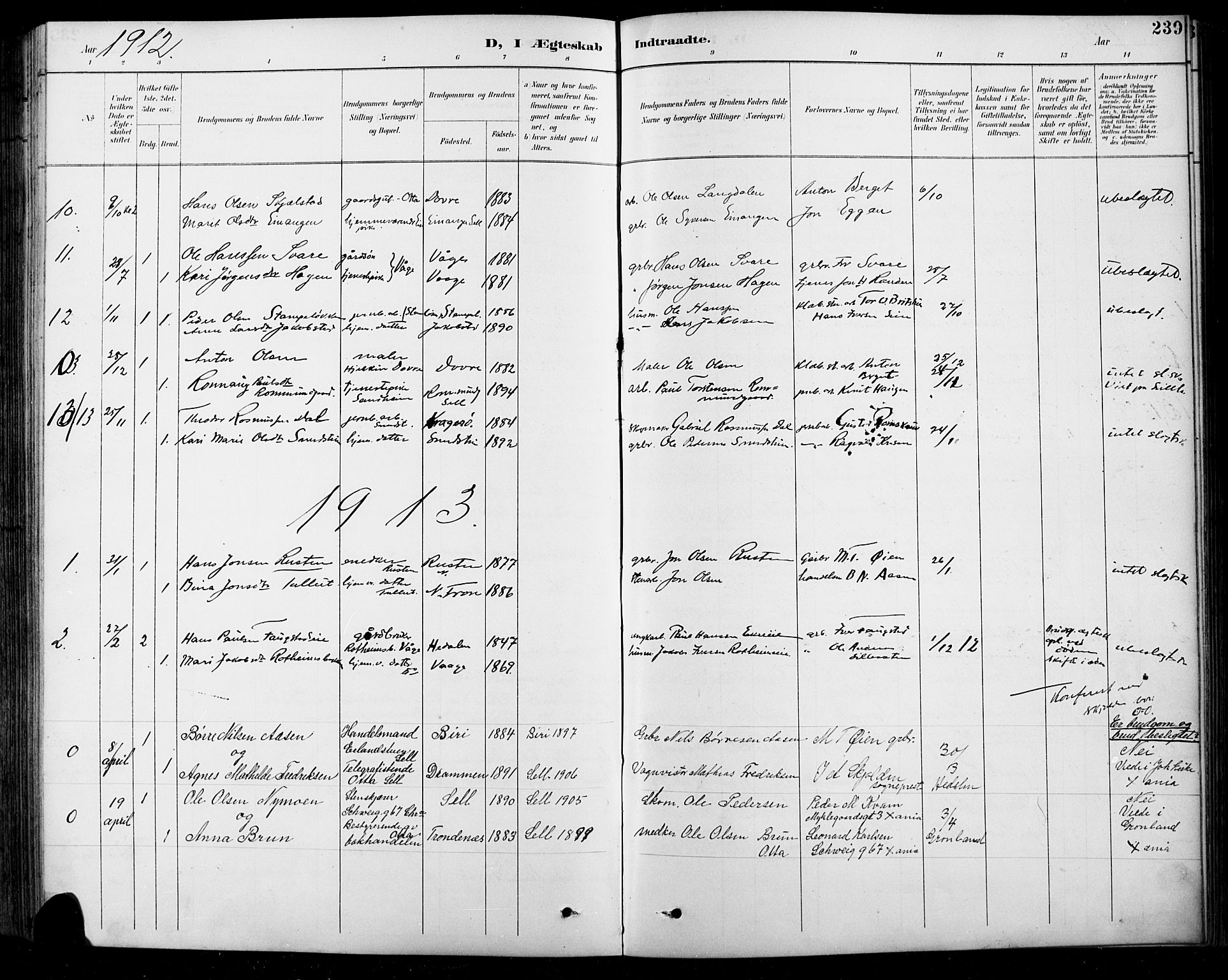 SAH, Sel prestekontor, Klokkerbok nr. 1, 1894-1923, s. 239