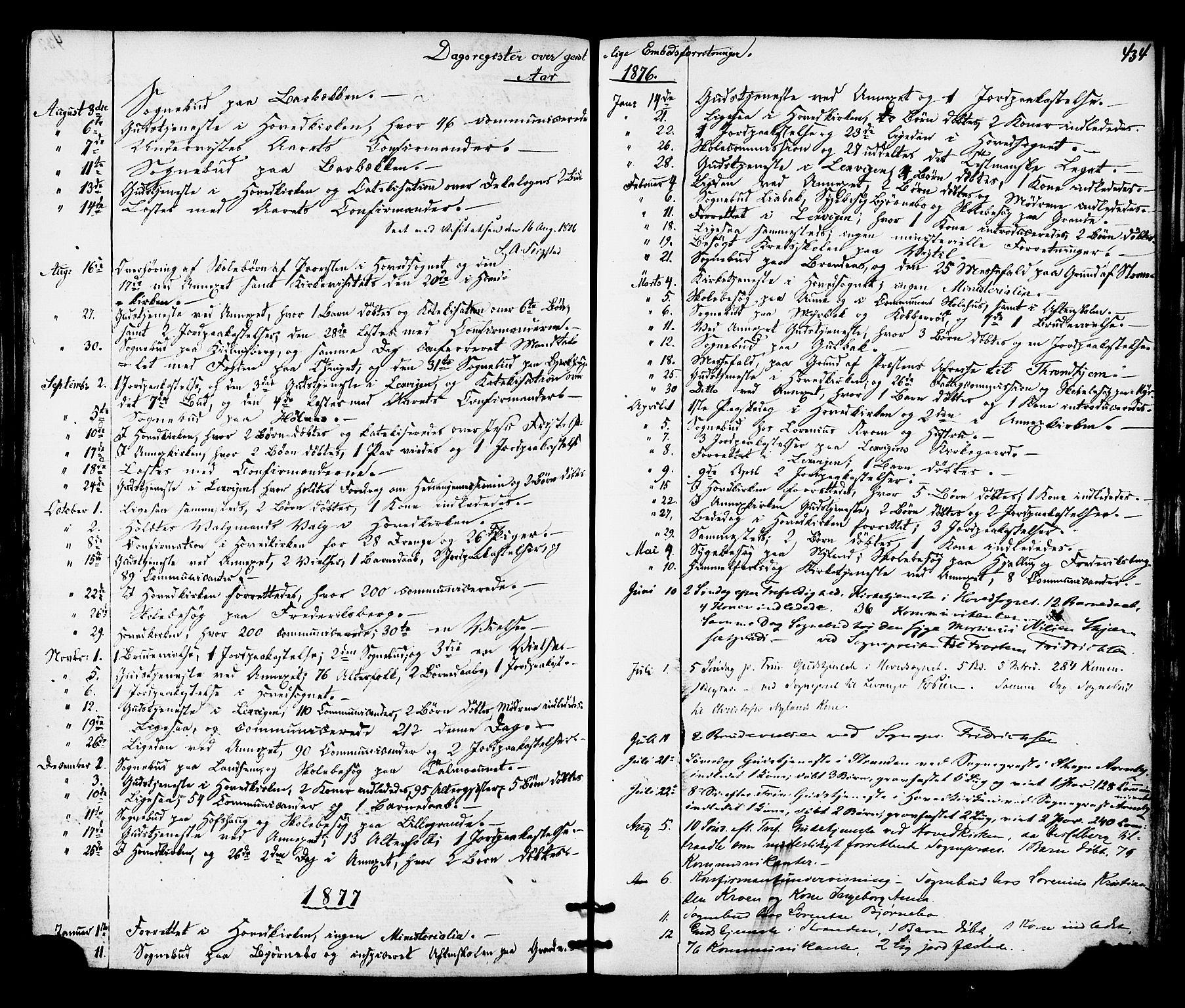 SAT, Ministerialprotokoller, klokkerbøker og fødselsregistre - Nord-Trøndelag, 701/L0009: Ministerialbok nr. 701A09 /1, 1864-1882, s. 434