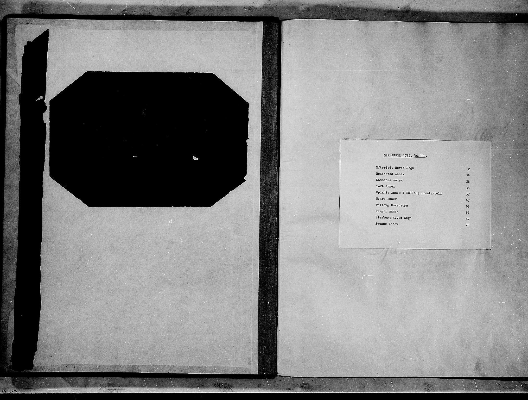 RA, Rentekammeret inntil 1814, Realistisk ordnet avdeling, N/Nb/Nbf/L0114: Numedal og Sandsvær matrikkelprotokoll, 1723, s. upaginert