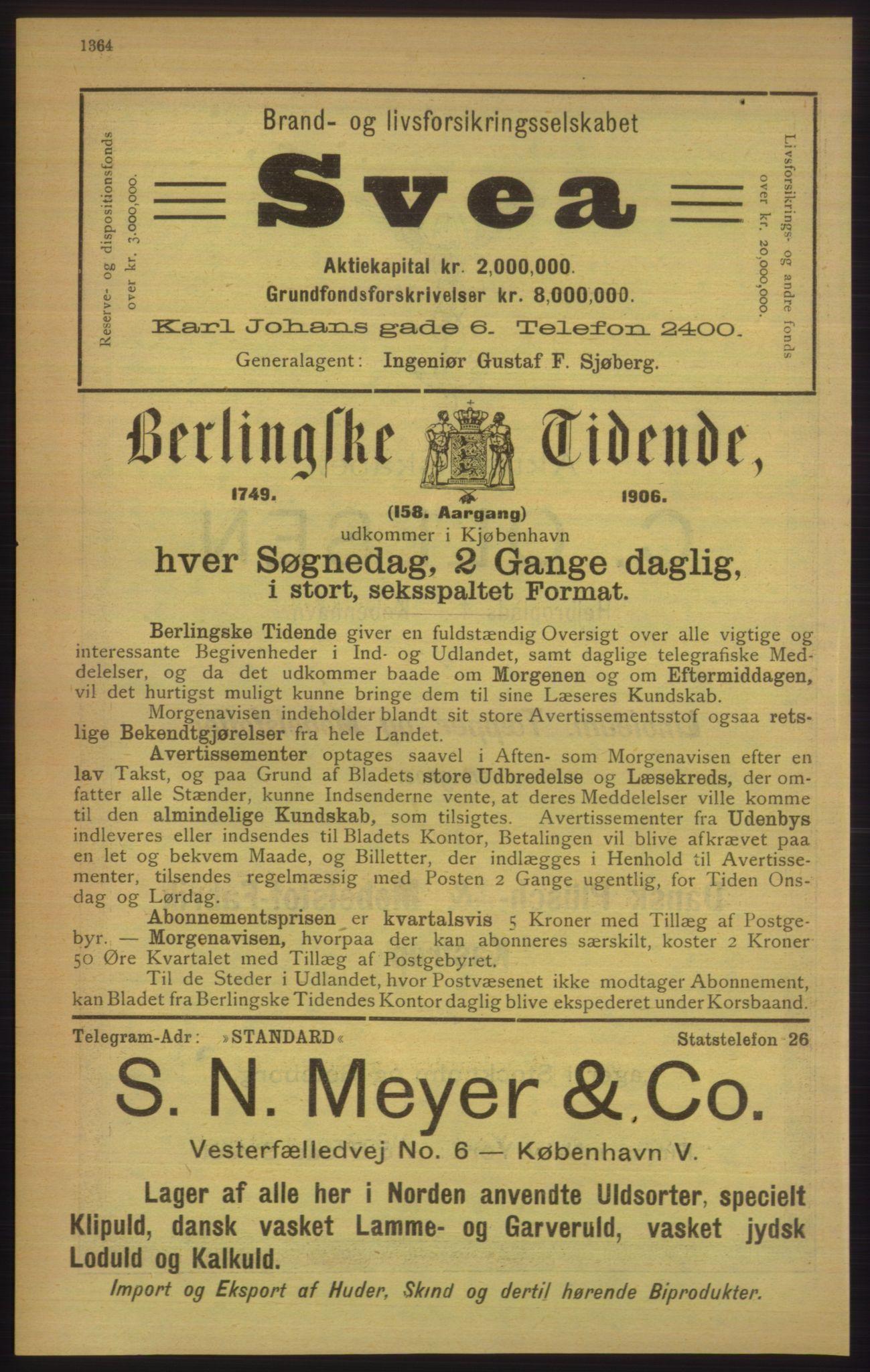 PUBL, Kristiania/Oslo adressebok, 1906, s. 1364