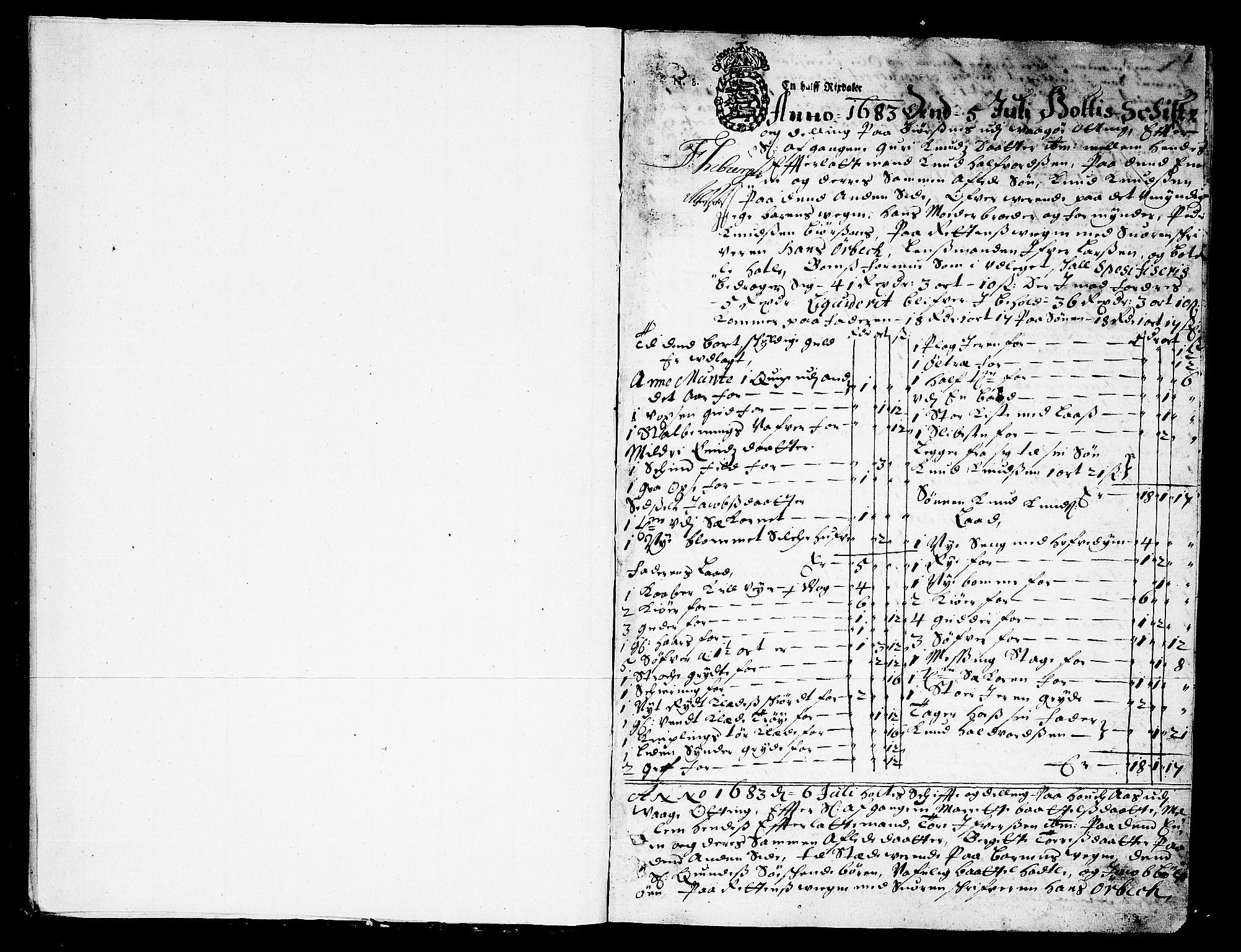 SAT, Romsdal sorenskriveri, 3/3A/L0002: Skifteprotokoll, 1683-1687, s. 0b-1a