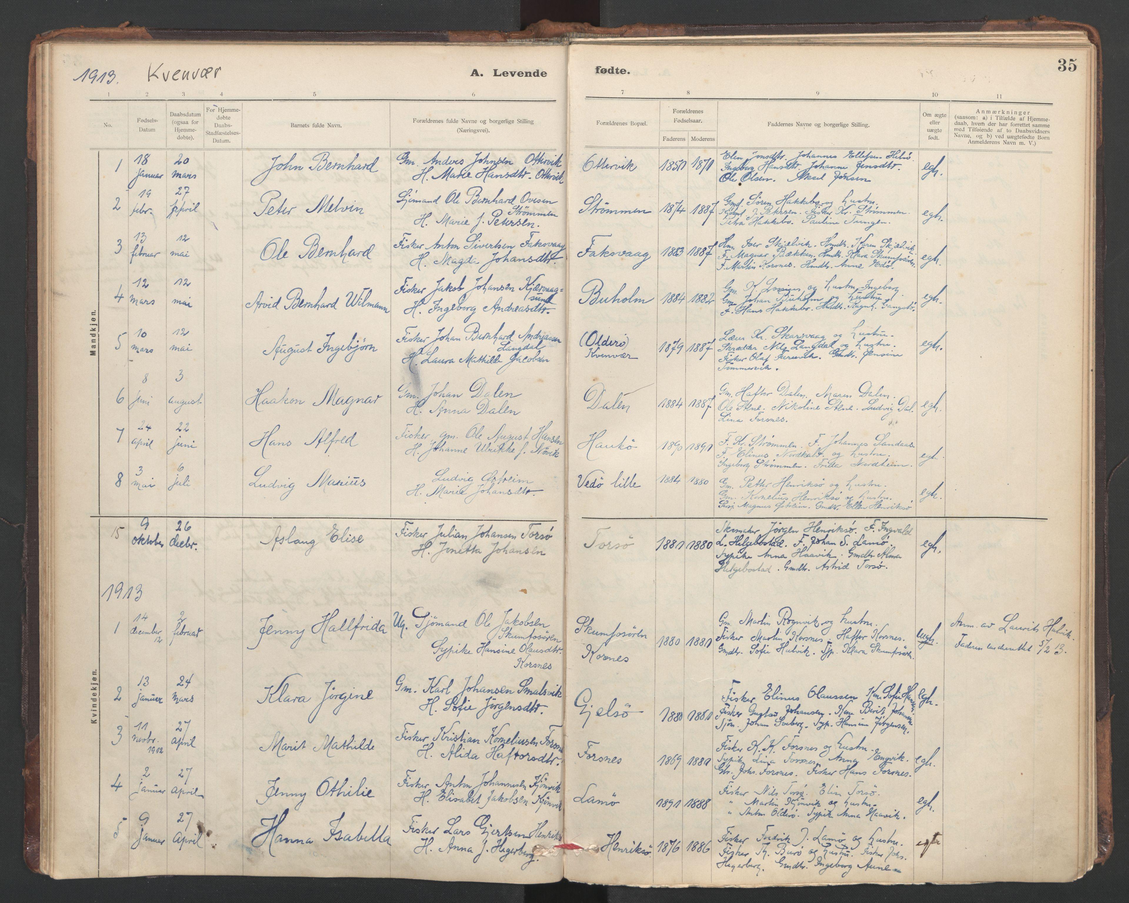 SAT, Ministerialprotokoller, klokkerbøker og fødselsregistre - Sør-Trøndelag, 635/L0552: Ministerialbok nr. 635A02, 1899-1919, s. 35