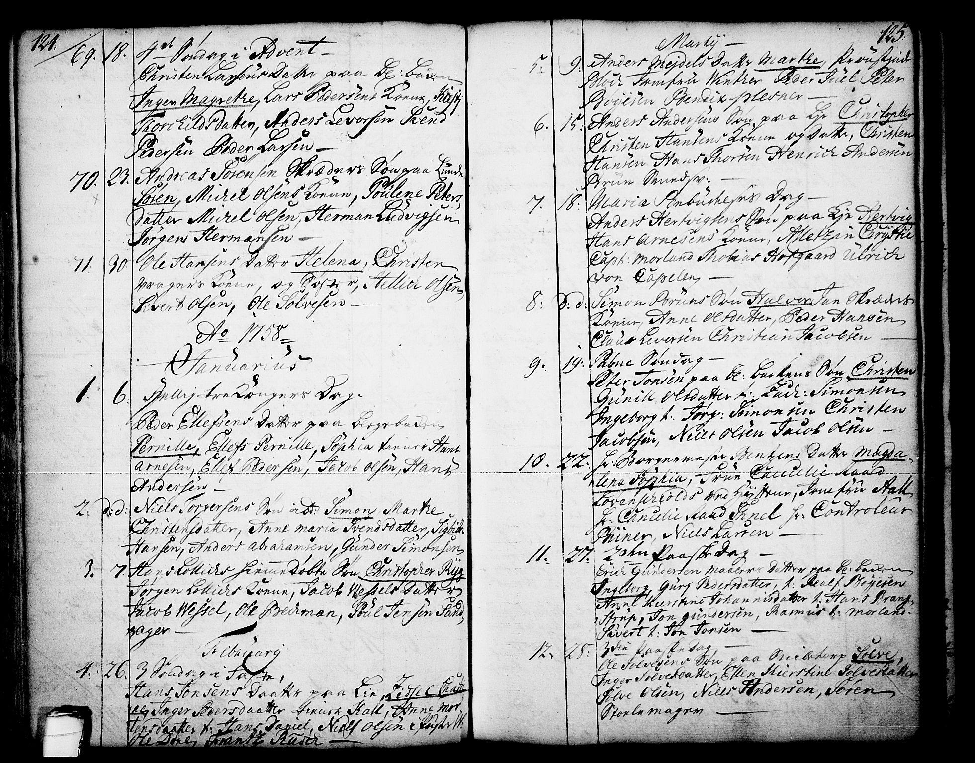 SAKO, Skien kirkebøker, F/Fa/L0003: Ministerialbok nr. 3, 1755-1791, s. 124-125