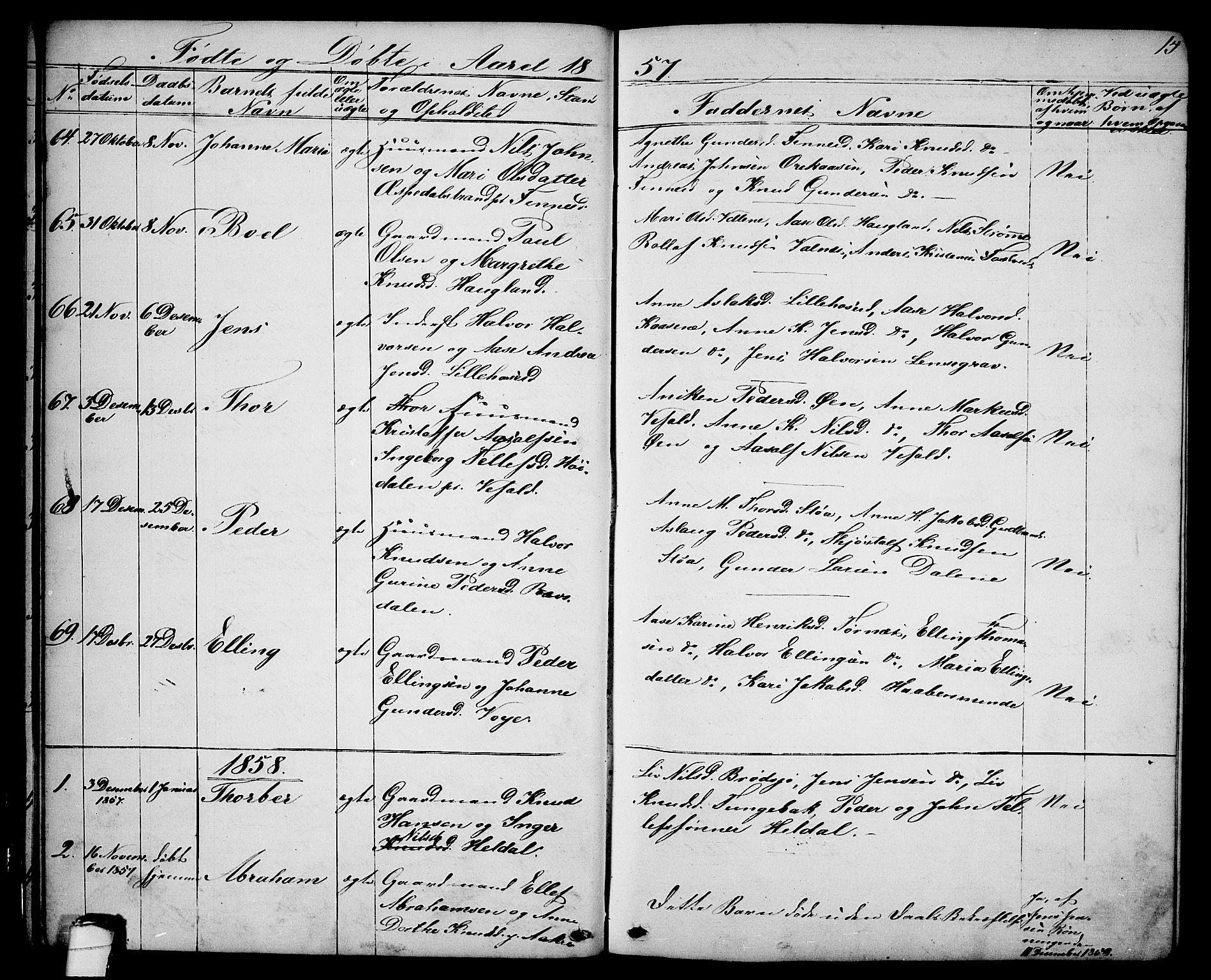 SAKO, Drangedal kirkebøker, G/Ga/L0002: Klokkerbok nr. I 2, 1856-1887, s. 15