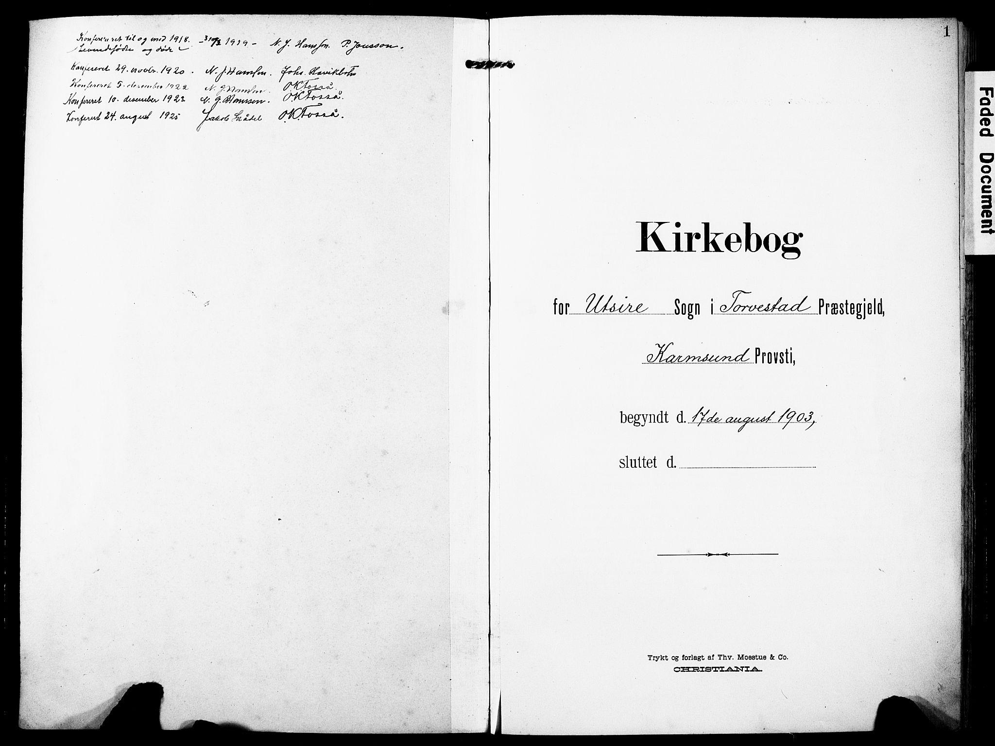SAST, Torvastad sokneprestkontor, H/Ha/Haa/L0018: Ministerialbok nr. A 17, 1903-1925, s. 1