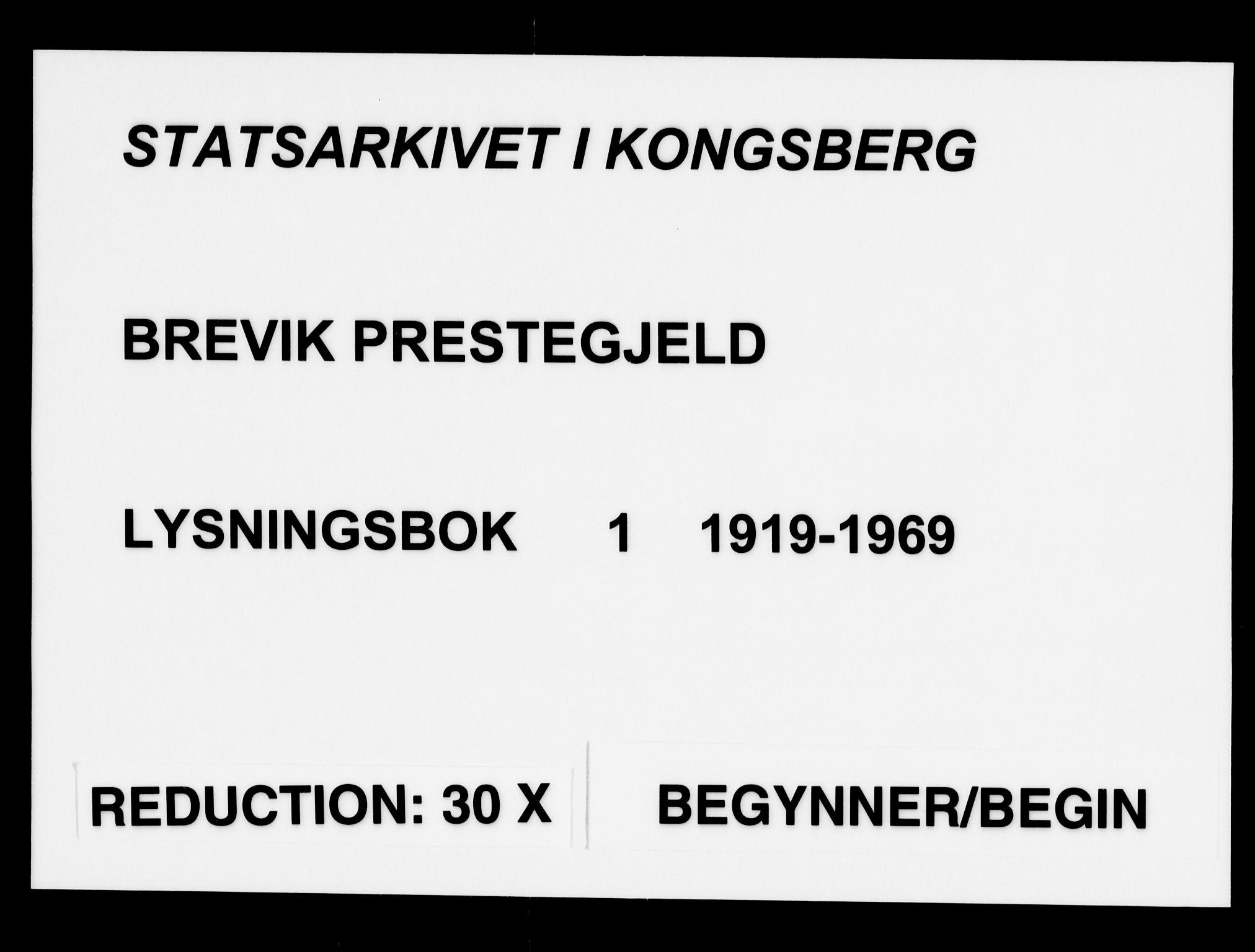 SAKO, Brevik kirkebøker, H/Ha/L0001: Lysningsprotokoll nr. 1, 1919-1969
