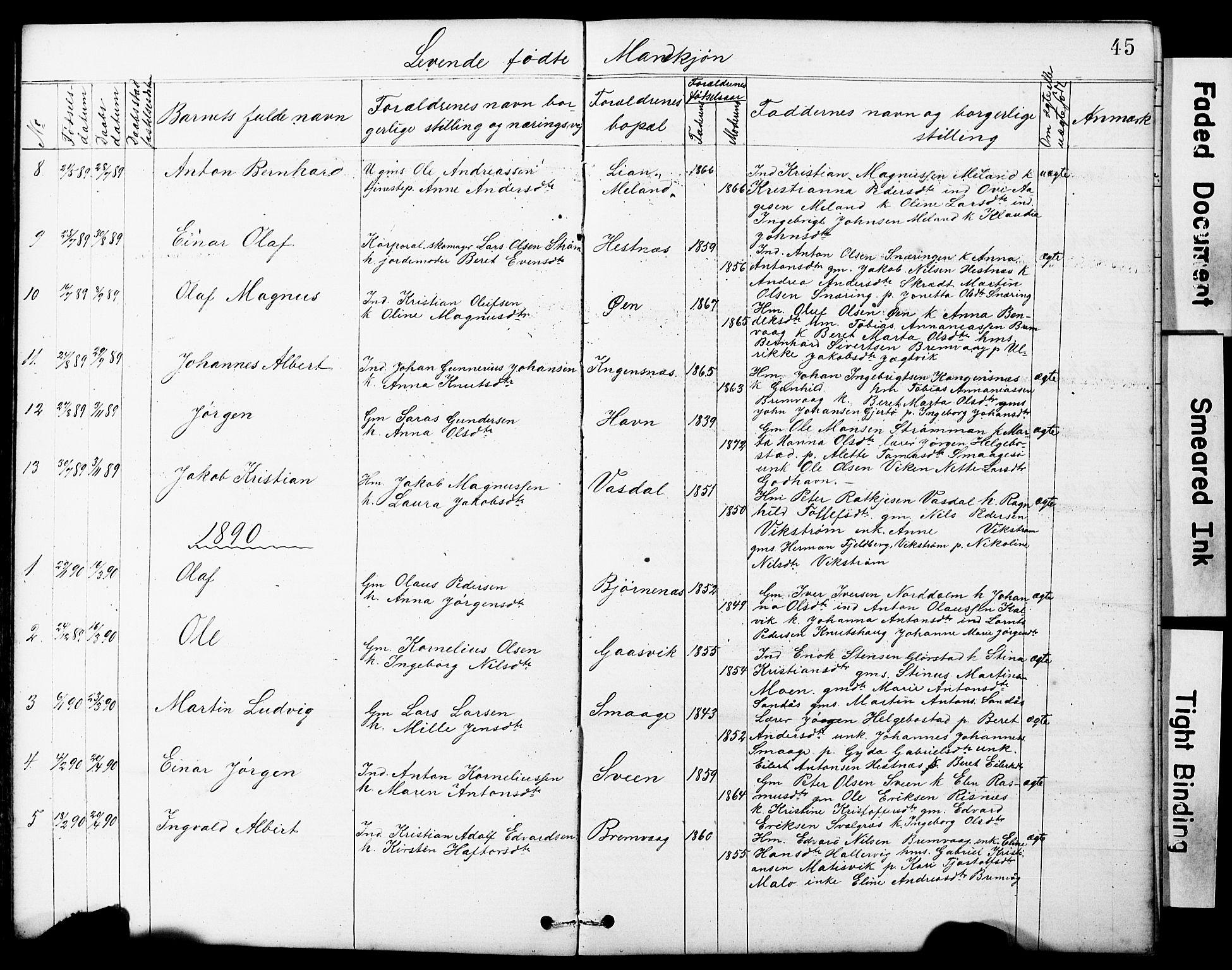 SAT, Ministerialprotokoller, klokkerbøker og fødselsregistre - Sør-Trøndelag, 634/L0541: Klokkerbok nr. 634C03, 1874-1891, s. 45