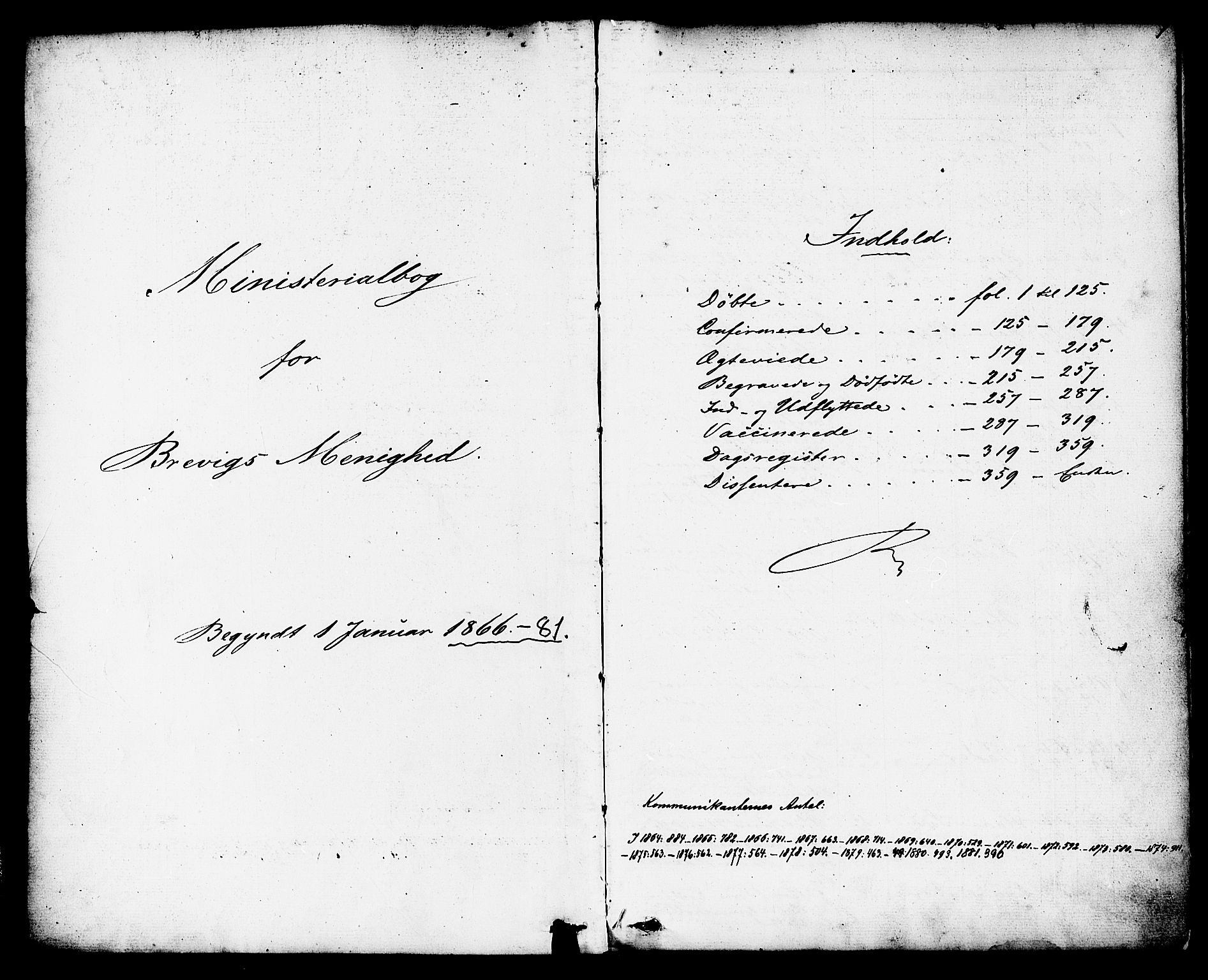 SAKO, Brevik kirkebøker, F/Fa/L0006: Ministerialbok nr. 6, 1866-1881, s. 1