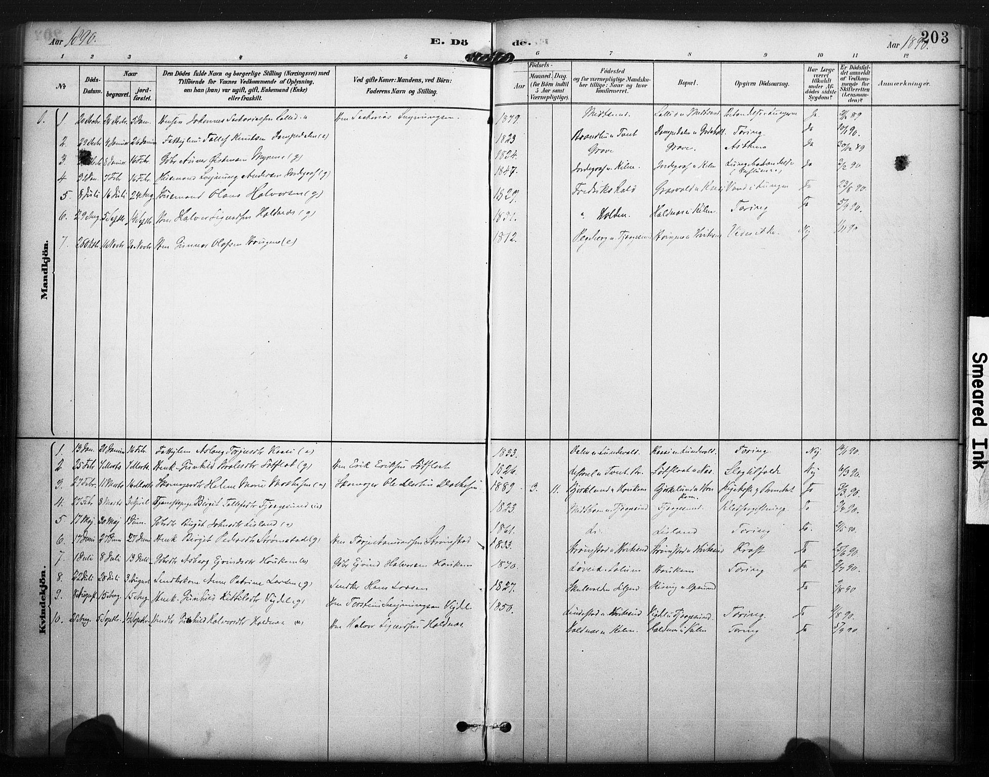 SAKO, Kviteseid kirkebøker, F/Fa/L0008: Ministerialbok nr. I 8, 1882-1903, s. 203