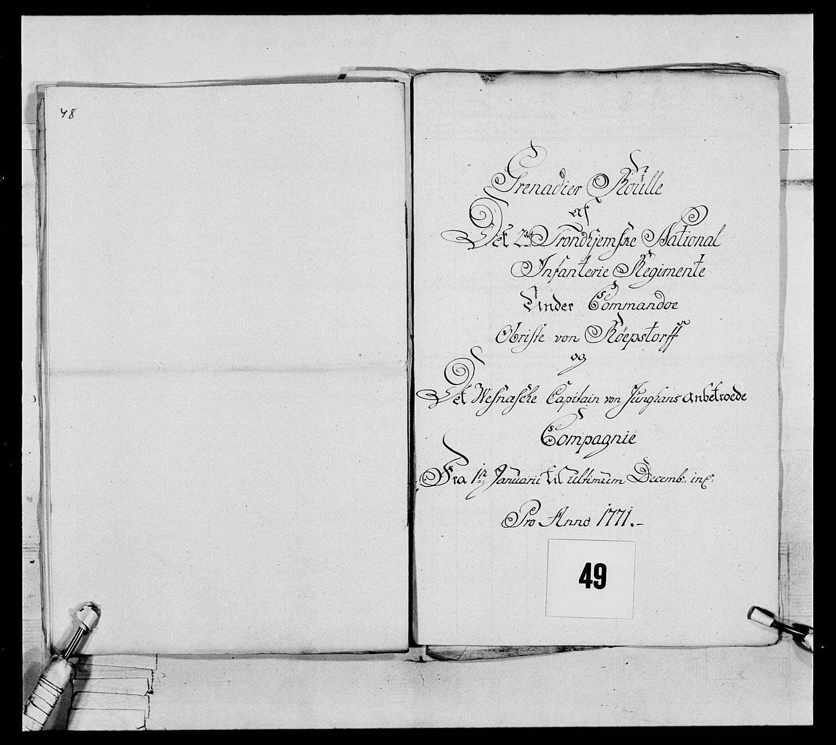 RA, Generalitets- og kommissariatskollegiet, Det kongelige norske kommissariatskollegium, E/Eh/L0076: 2. Trondheimske nasjonale infanteriregiment, 1766-1773, s. 161