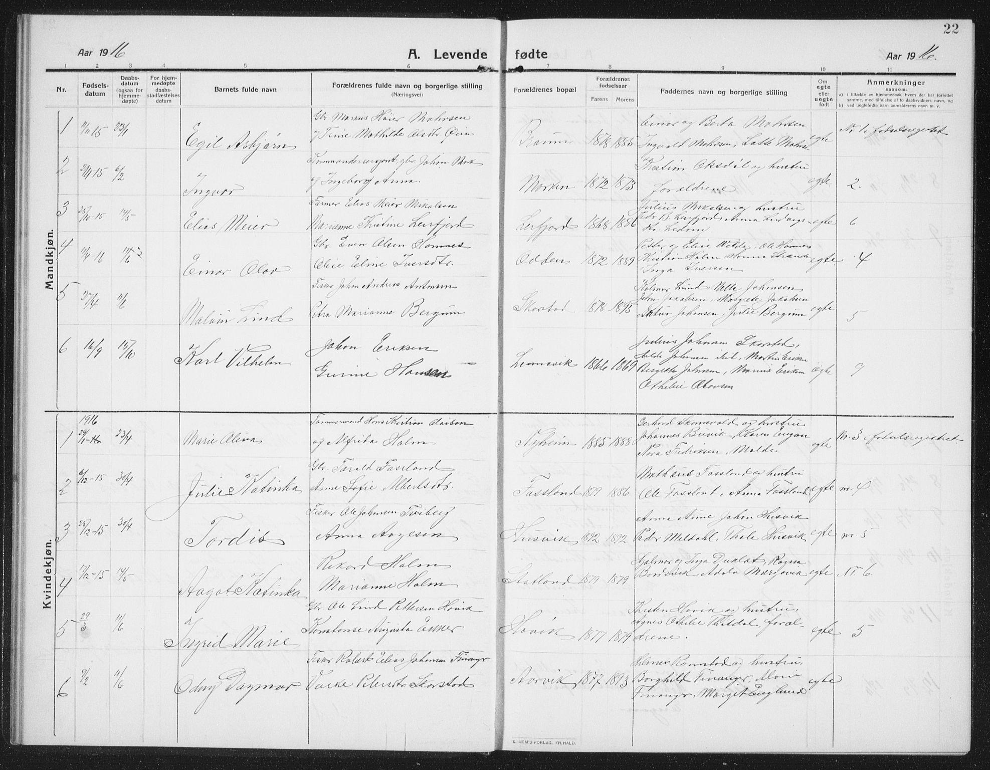 SAT, Ministerialprotokoller, klokkerbøker og fødselsregistre - Nord-Trøndelag, 774/L0630: Klokkerbok nr. 774C01, 1910-1934, s. 22
