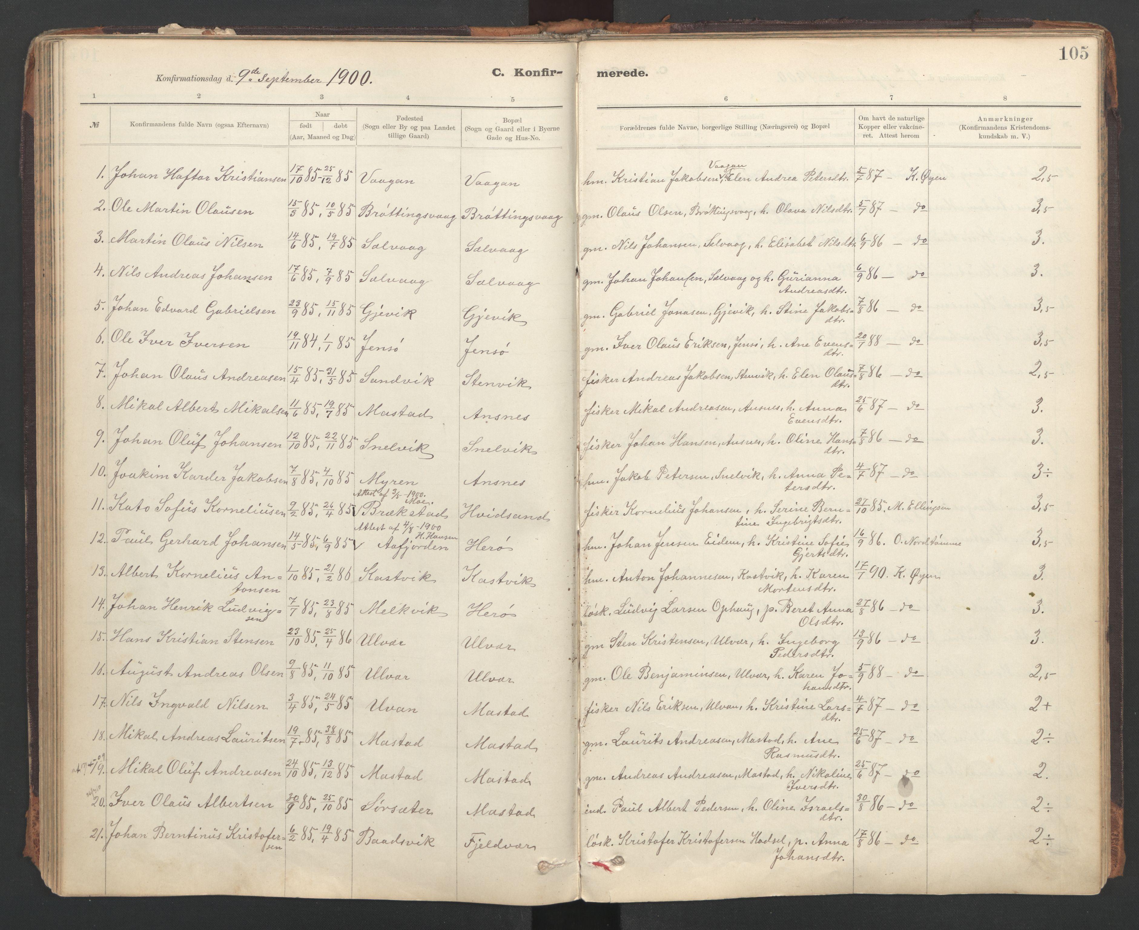SAT, Ministerialprotokoller, klokkerbøker og fødselsregistre - Sør-Trøndelag, 637/L0559: Ministerialbok nr. 637A02, 1899-1923, s. 105