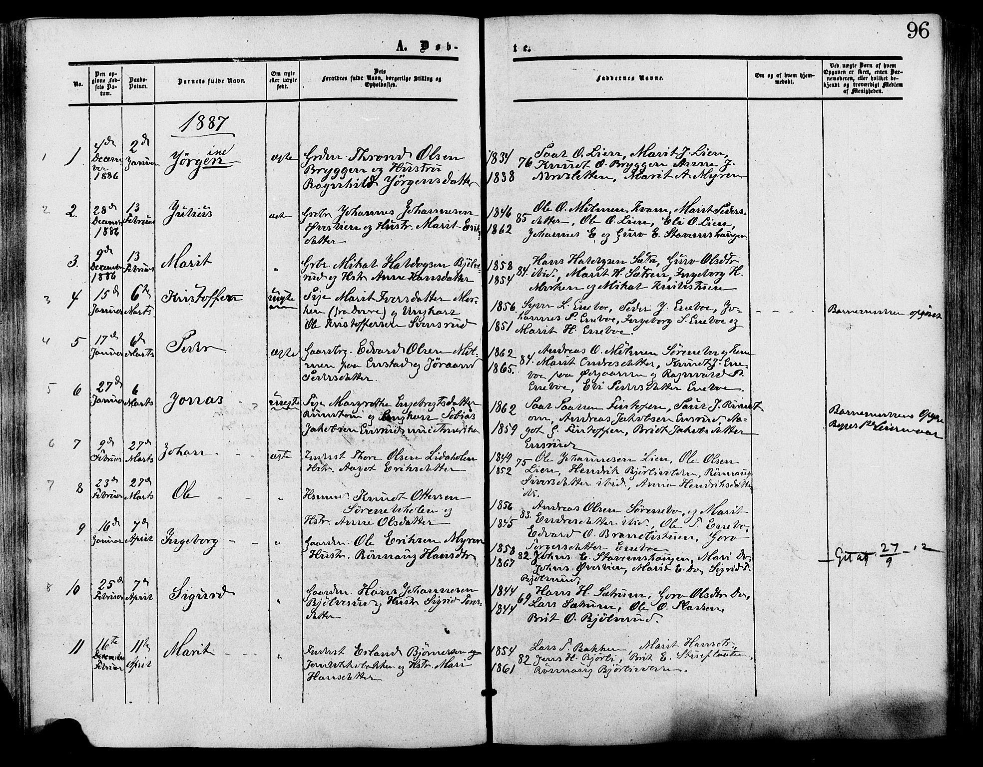 SAH, Lesja prestekontor, Ministerialbok nr. 9, 1854-1889, s. 96