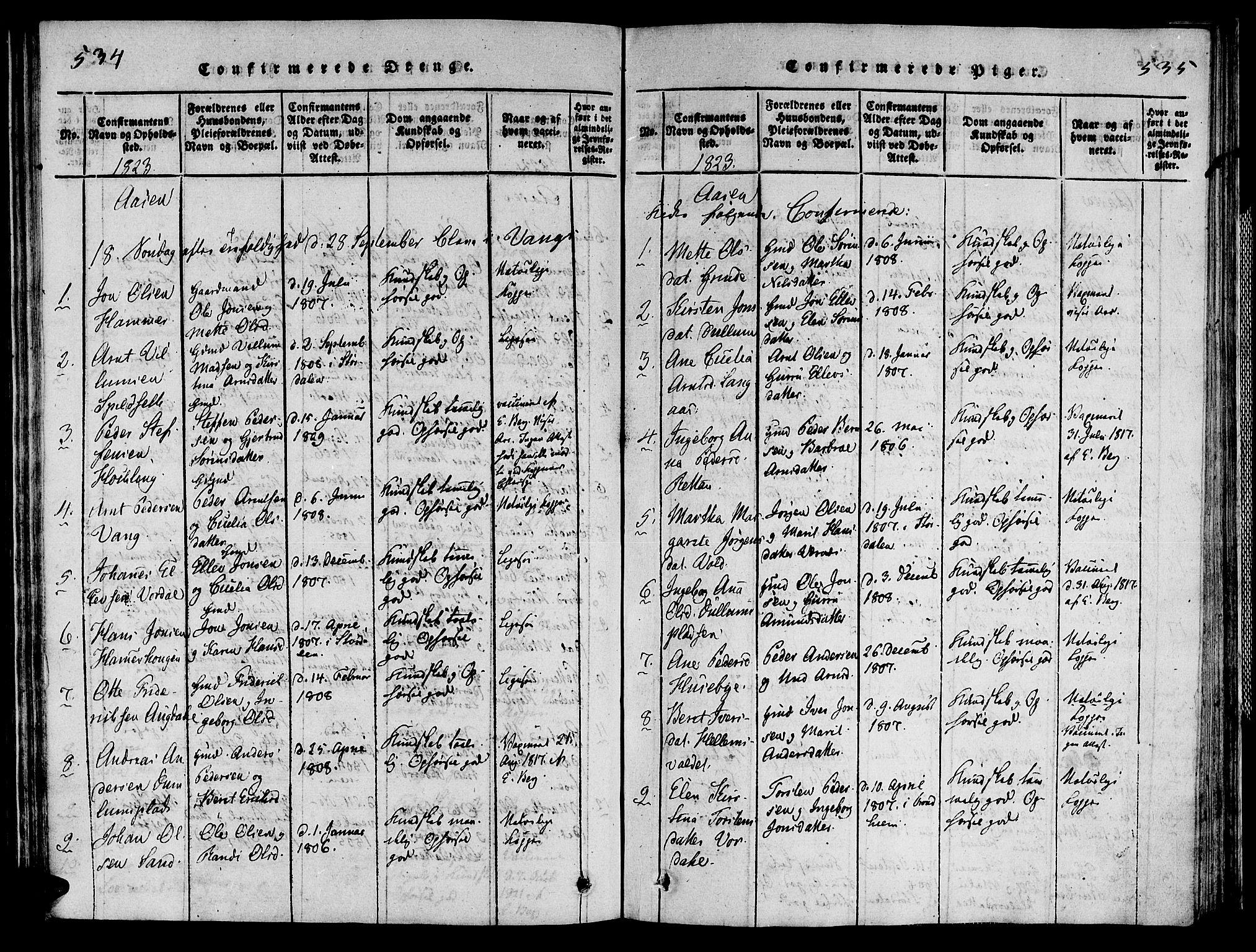SAT, Ministerialprotokoller, klokkerbøker og fødselsregistre - Nord-Trøndelag, 713/L0112: Ministerialbok nr. 713A04 /2, 1817-1827, s. 534-535