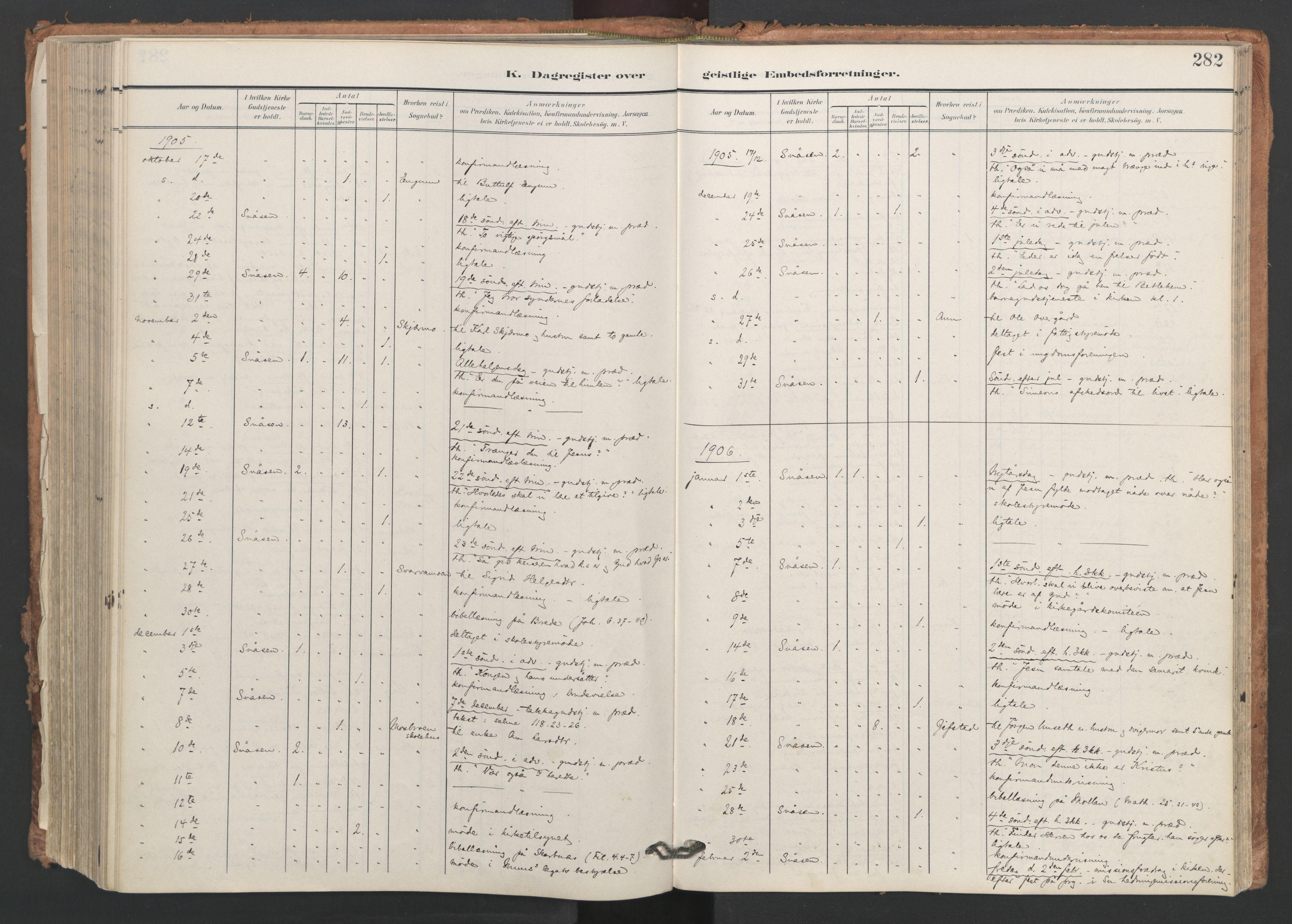 SAT, Ministerialprotokoller, klokkerbøker og fødselsregistre - Nord-Trøndelag, 749/L0477: Ministerialbok nr. 749A11, 1902-1927, s. 282