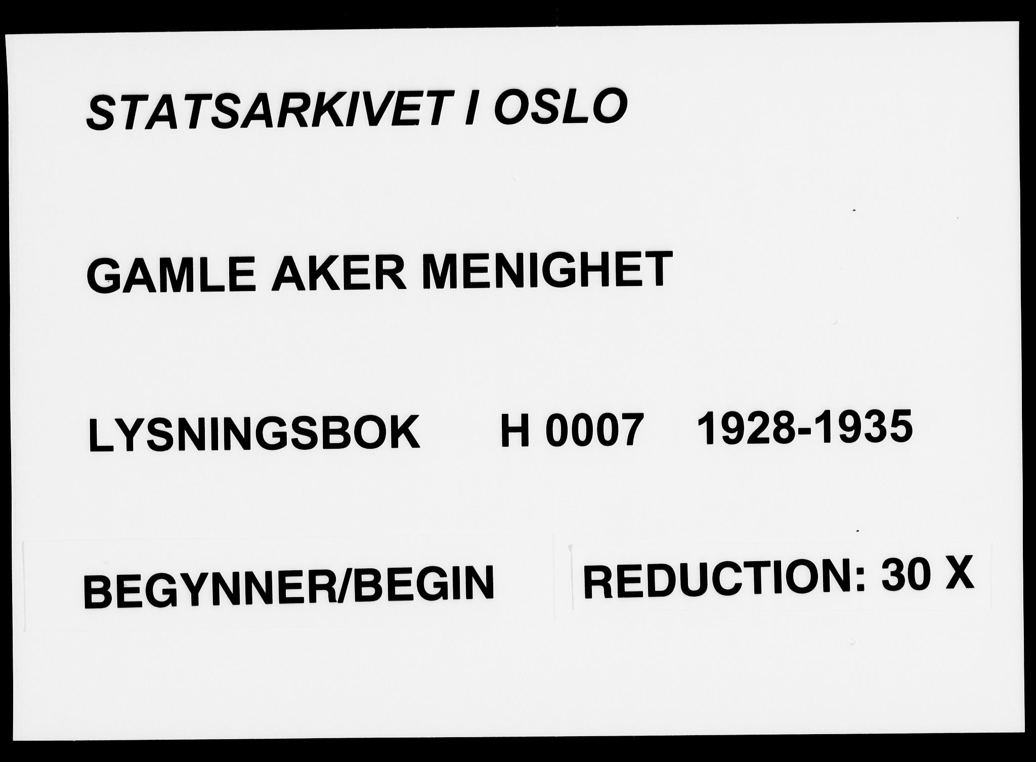 SAO, Gamle Aker prestekontor Kirkebøker, H/L0007: Lysningsprotokoll nr. 7, 1928-1935