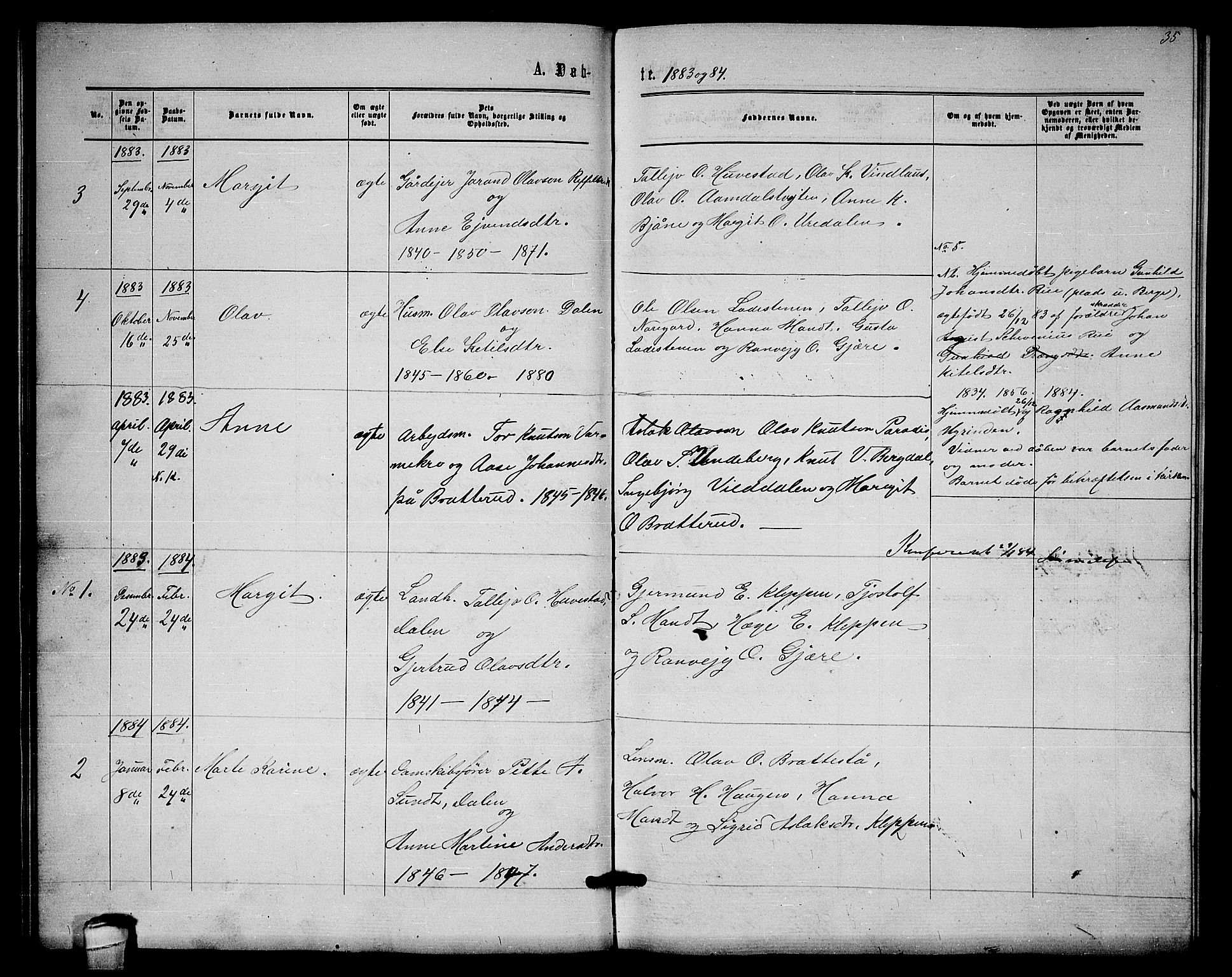 SAKO, Lårdal kirkebøker, G/Gb/L0002: Klokkerbok nr. II 2, 1865-1888, s. 35