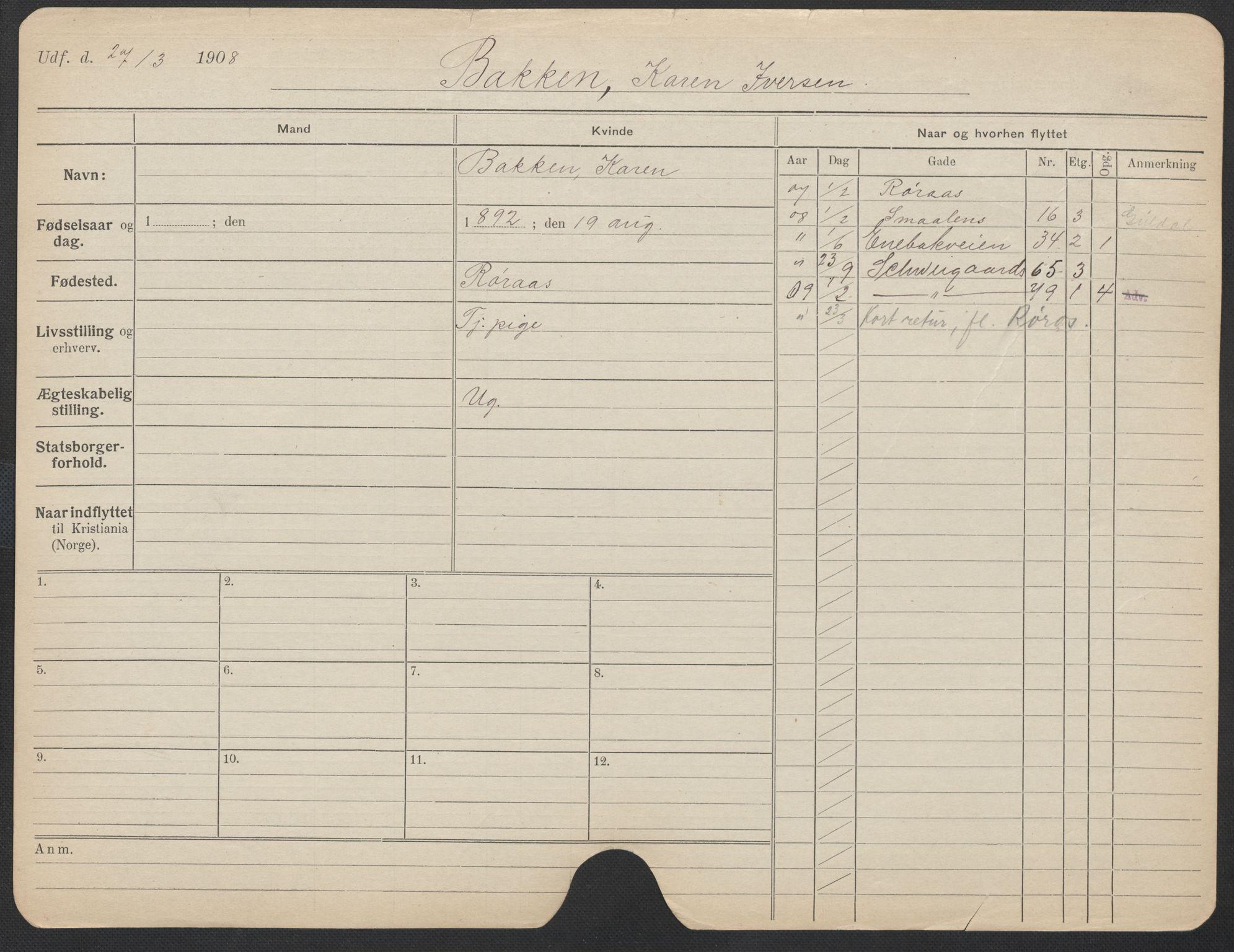 SAO, Oslo folkeregister, Registerkort, F/Fa/Fac/L0012: Kvinner, 1906-1914, s. 1226a