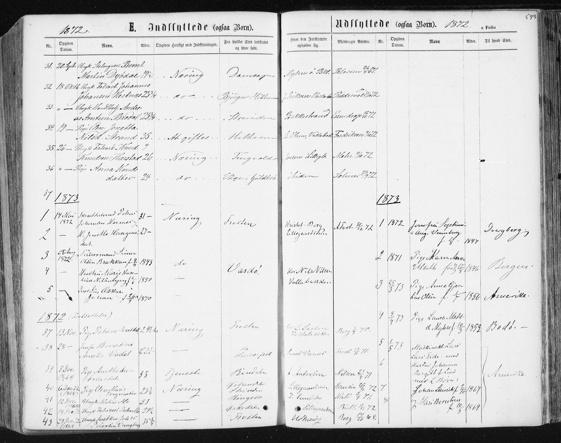 SAT, Ministerialprotokoller, klokkerbøker og fødselsregistre - Sør-Trøndelag, 604/L0186: Ministerialbok nr. 604A07, 1866-1877, s. 593