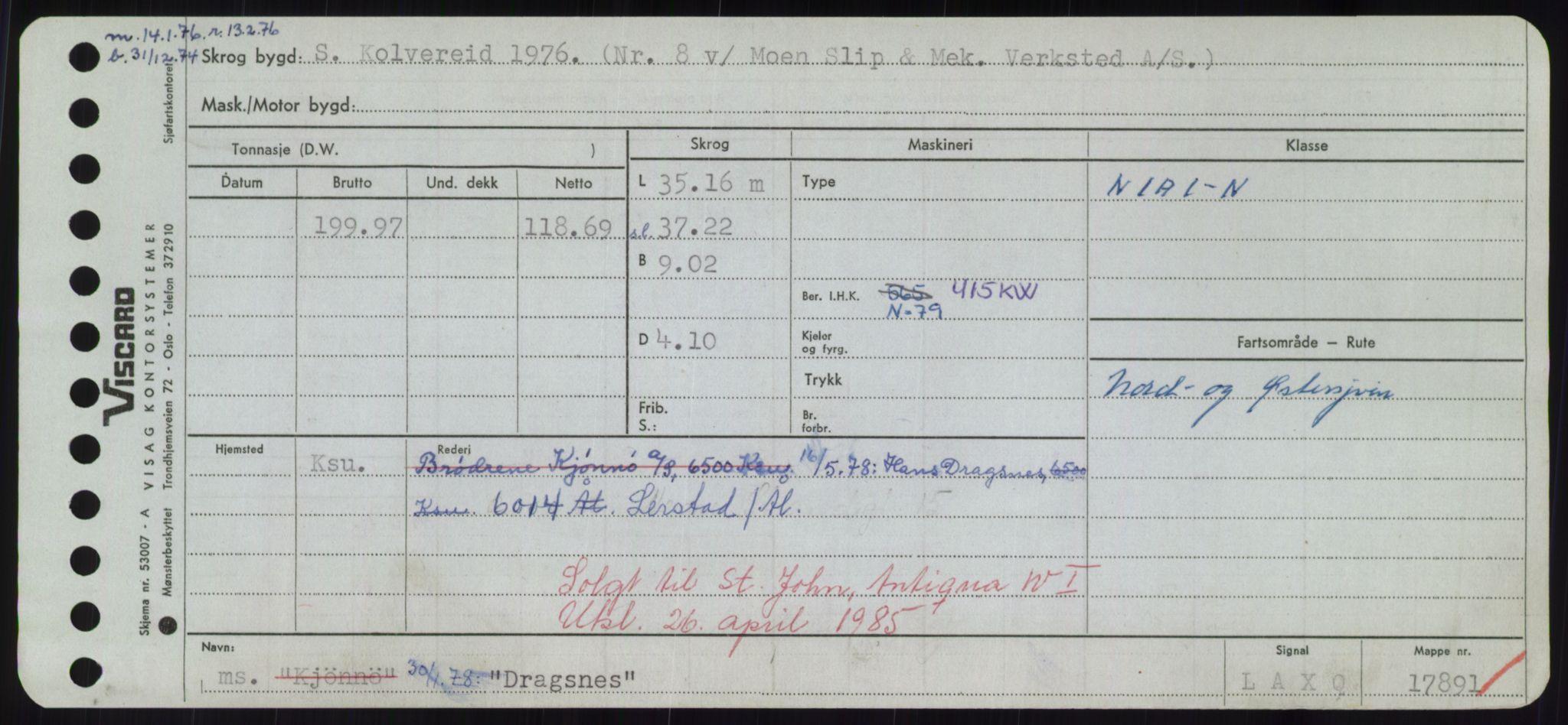 RA, Sjøfartsdirektoratet med forløpere, Skipsmålingen, H/Hd/L0008: Fartøy, C-D, s. 619