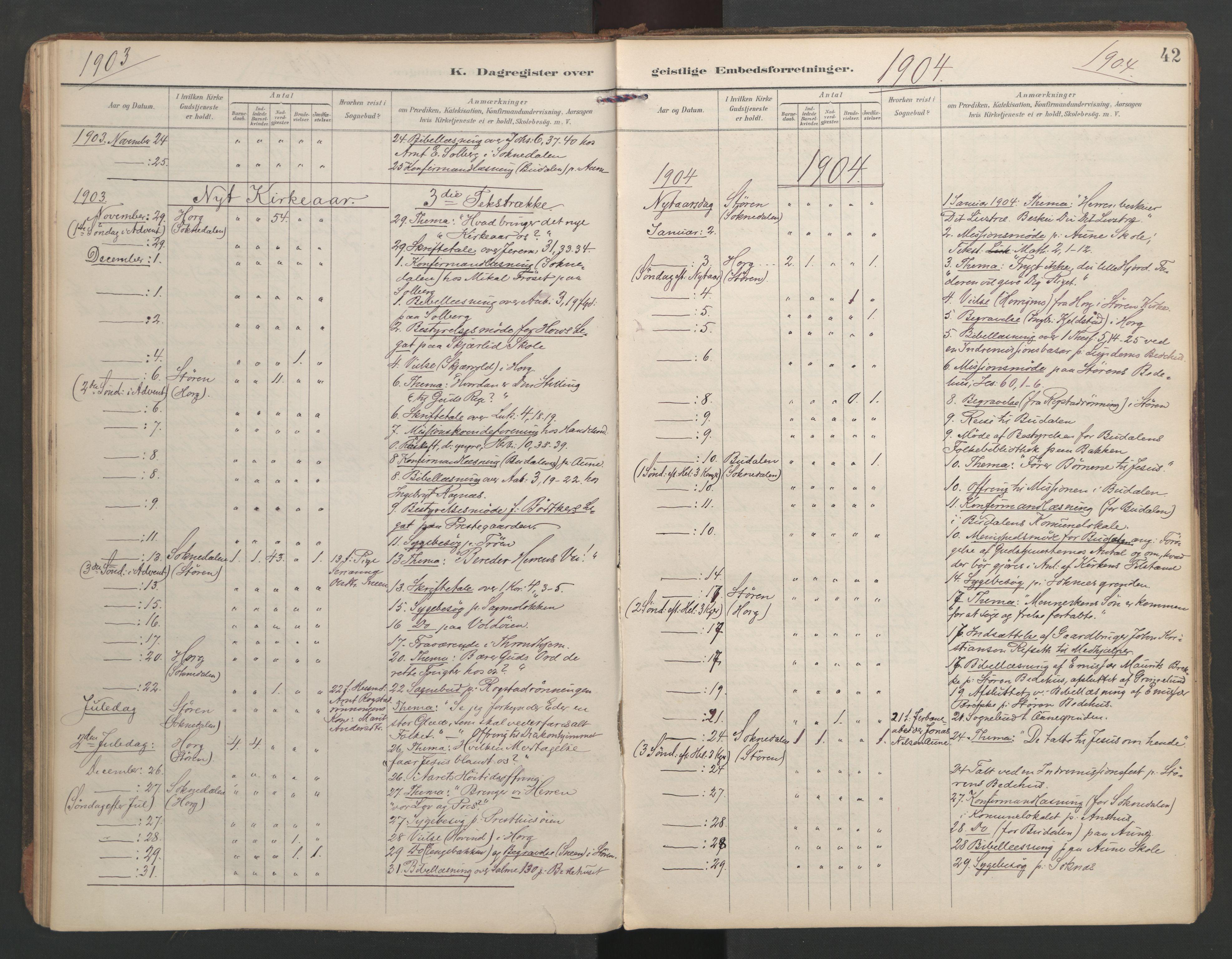 SAT, Ministerialprotokoller, klokkerbøker og fødselsregistre - Sør-Trøndelag, 687/L1005: Dagregister nr. 687A11, 1891-1912, s. 42
