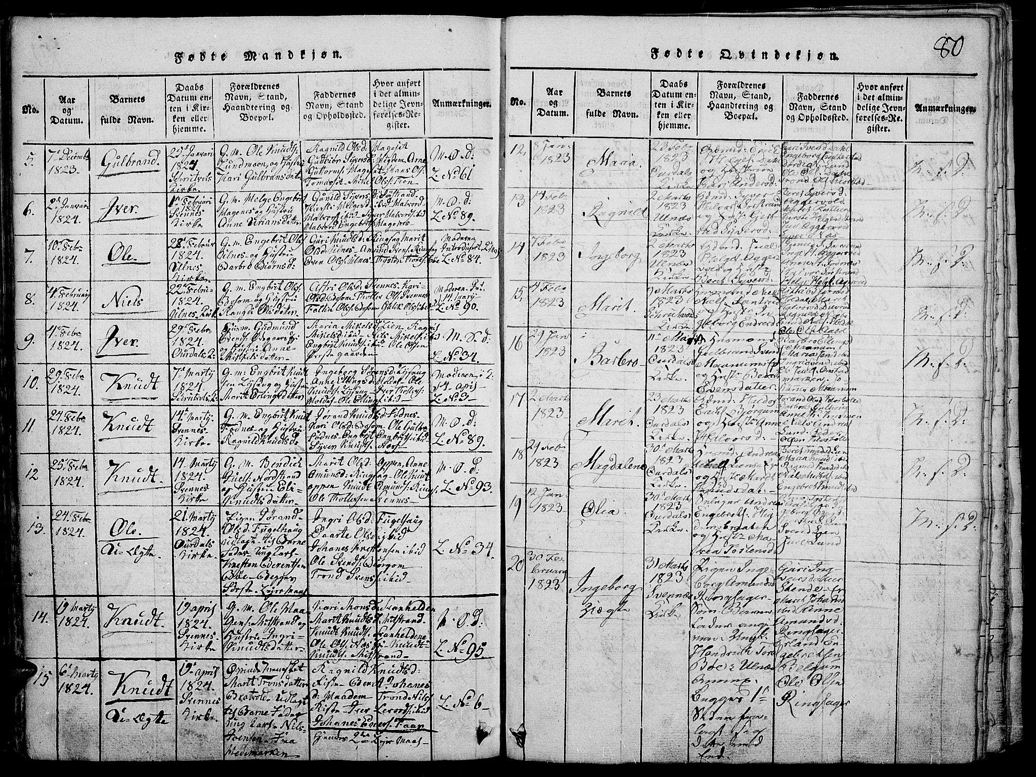 SAH, Nord-Aurdal prestekontor, Ministerialbok nr. 2, 1816-1828, s. 80