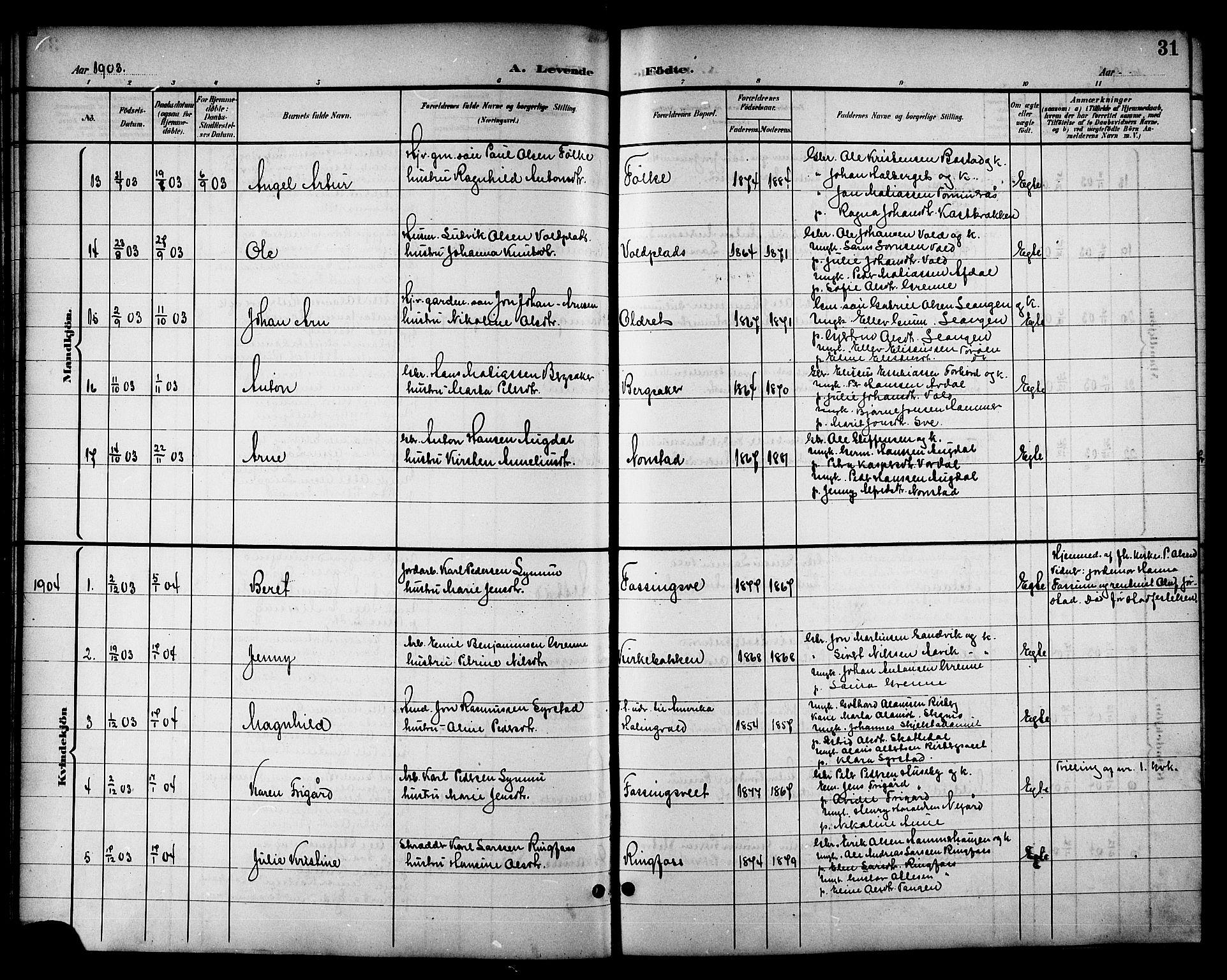 SAT, Ministerialprotokoller, klokkerbøker og fødselsregistre - Nord-Trøndelag, 714/L0135: Klokkerbok nr. 714C04, 1899-1918, s. 31